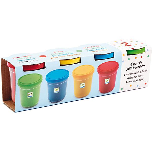 Набор пластилина, 4 банки, DJECOРисование и лепка<br>Характеристики набора пластилина:<br><br>• возраст: от 2 лет<br>• пол: универсальный<br>• комплект: 4 баночки с пластилином (синий, зеленый, красный, желтый) <br>• материал: пластик<br>• состав: пластик, краситель.<br>• вес: 140 г.<br>• размер упаковки: 27 х 8 х 7 см.<br>• упаковка: картонная коробка<br>• бренд: Djeco<br>• страна обладатель бренда: Франция.<br><br>Набор для творчества состоит из четырех баночек пластилина (синий, зеленый, красный, желтый). Каждая баночка весит 140 грамм. Можно добавить к набору любые пластиковые формы и немного фантазии, и получить безграничные возможности для детского творчества. <br><br>Пластилин Djeco (Джеко) отлично лепится и без формочек - достаточно придать ему необходимую форму руками. Материал мягкий, не липкий, с ним справится даже начинающий творец. Пластилин изготовлен из натуральных, безопасных материалов. Лепка развивает моторику рук, творческие способности, воображение, а также помогает детям стать более усидчивыми.<br><br>Набор пластилина от торговой марки Djeco (Джеко) можно купить в нашем интернет-магазине.<br>Ширина мм: 270; Глубина мм: 80; Высота мм: 70; Вес г: 560; Возраст от месяцев: 36; Возраст до месяцев: 2147483647; Пол: Унисекс; Возраст: Детский; SKU: 5448835;