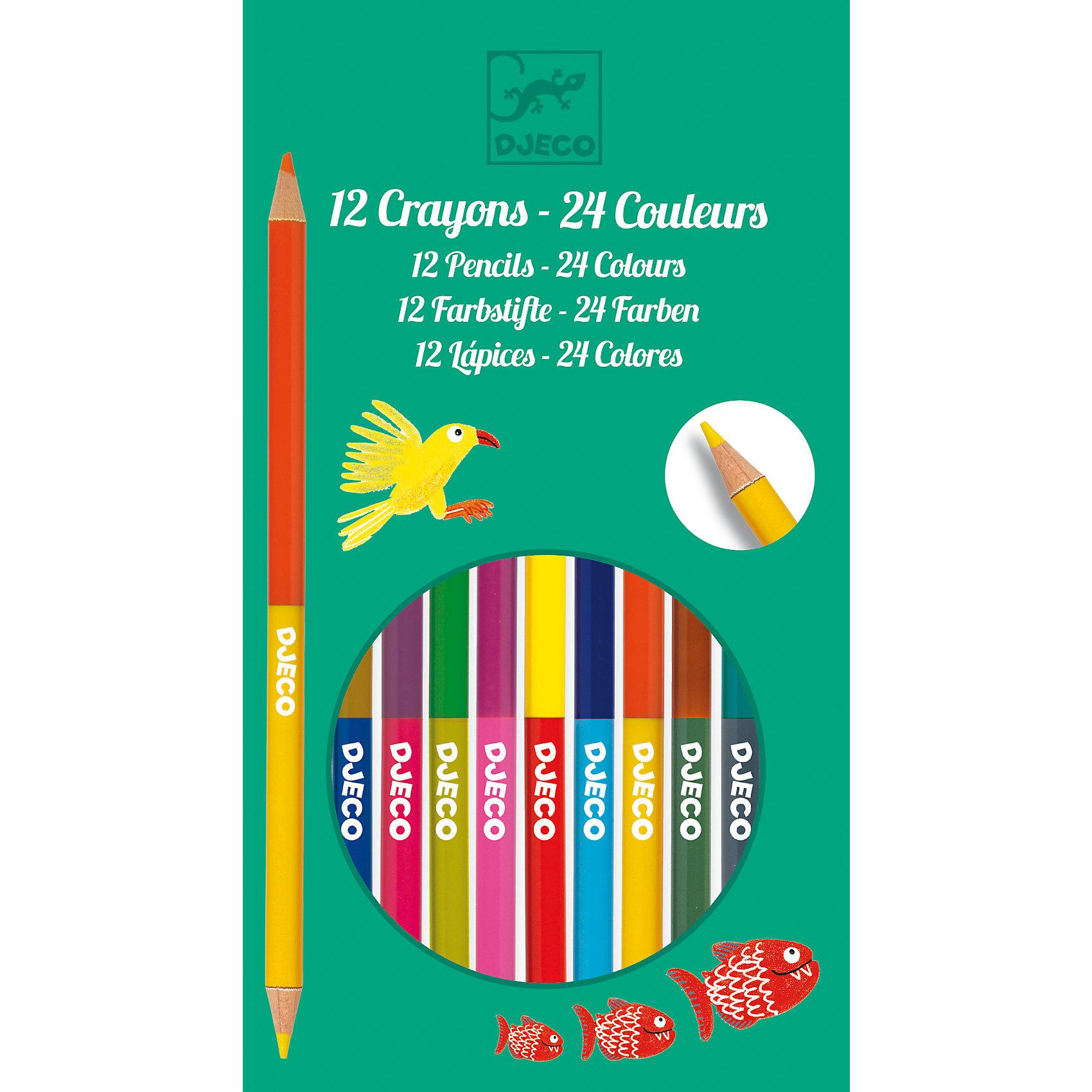 Набор из 12 двухсторонних карандашей, DJECOРисование<br>Характеристики набора из 12 двухсторонних карандашей:<br><br>• возраст: от 4 лет<br>• пол: универсальный<br>• комплект: 12 двухсторонних карандашей.<br>• материал: дерево<br>• состав: пластик, краситель.<br>• размер упаковки: 10 х 18 х 1 см.<br>• упаковка: картонная коробка .<br>• бренд: Djeco<br>• страна обладатель бренда: Франция.<br><br>Ваш малыш будет с удовольствием рисовать двойными карандашами, воплощая свои самые красочные мечты. В наборе он найдёт 12 ярких карандашей, всего в наборе 24 цвета. Рисунки, созданные с помощью карандашей от торговой марки Djeco (Джеко) не выцветают и сохраняют насыщенность цвета в течение долгого времени. В процессе рисования у Вашего ребенка будет развиваться фантазия, воображение и творческие способности.<br><br>Набор из 12 двухсторонних карандашей от торговой марки Djeco (Джеко) можно купить в нашем интернет-магазине.<br><br>Ширина мм: 100<br>Глубина мм: 18<br>Высота мм: 10<br>Вес г: 310<br>Возраст от месяцев: 48<br>Возраст до месяцев: 2147483647<br>Пол: Унисекс<br>Возраст: Детский<br>SKU: 5448836
