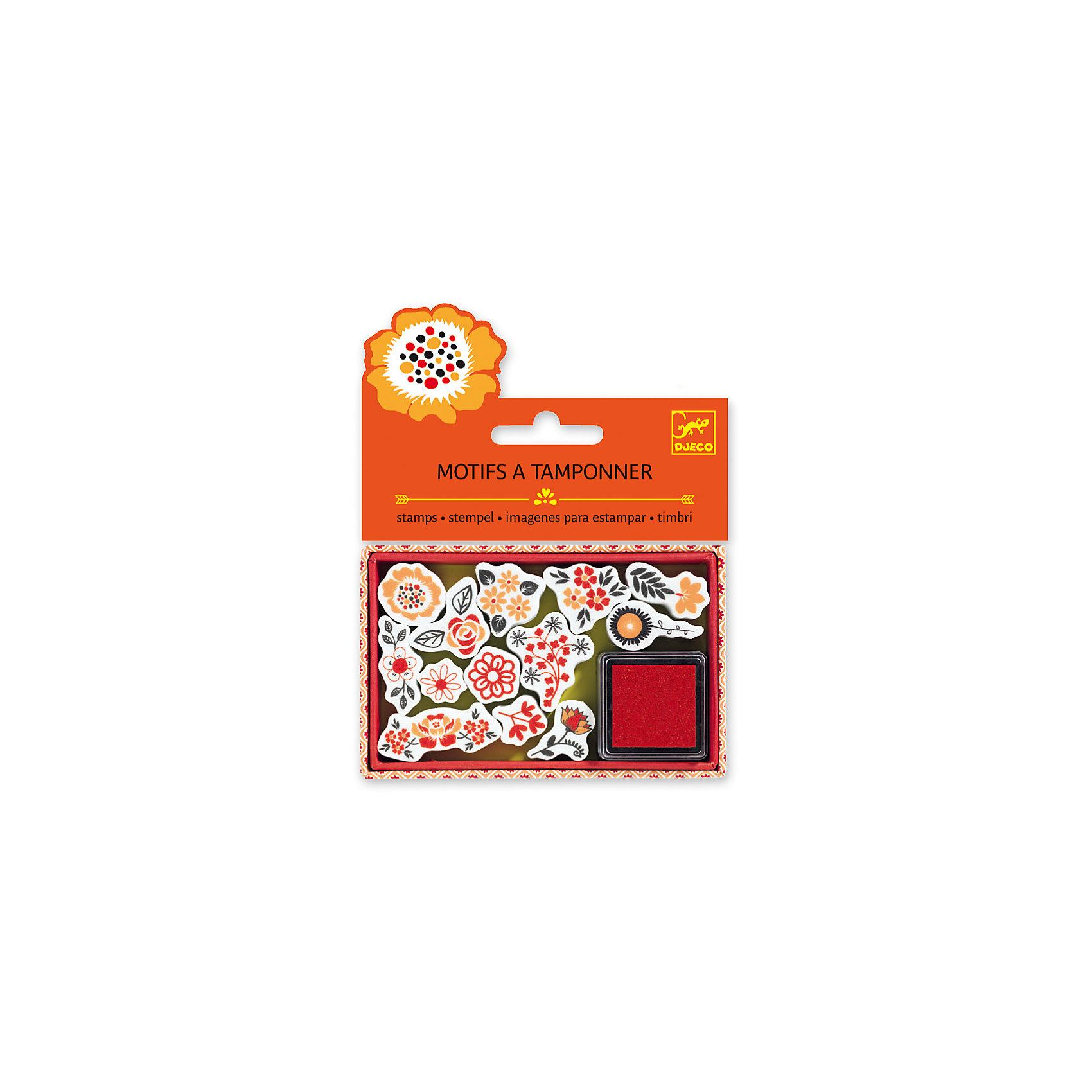 Набор штампов Цветы, DJECOРисование<br>Характеристики набора штампов Цветы:<br><br>• возраст: от 6 лет<br>• пол: для девочки<br>• комплект: 13 штампов, штемпельная подушечка.<br>• состав: картон, пластик.<br>• размер упаковки: 21 х 23 х 2 см.<br>• упаковка: пакет с хедером.<br>• бренд: Djeco<br>• страна обладатель бренда: Франция.<br><br>Набор штампов Цветы от французского бренда Djeco создан для всех любителей украшать свои работы. Штампиками можно украшать альбомные листы или тетради, а также страницы собственного дневника. Каждый штамп оснащен красивым орнаментом с содержанием различных цветов. Подушечки с краской хватит на множество использований, а затем ее можно пропитать краской снова.<br><br>Набор штампов Цветы от торговой марки Djeco (Джеко) можно купить в нашем интернет-магазине.<br><br>Ширина мм: 110<br>Глубина мм: 15<br>Высота мм: 20<br>Вес г: 60<br>Возраст от месяцев: 36<br>Возраст до месяцев: 2147483647<br>Пол: Женский<br>Возраст: Детский<br>SKU: 5448845