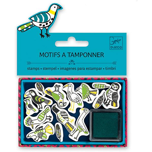 Набор штампов Птицы, DJECOДетские печати и штампы<br>Характеристики набора штампов Птицы:<br><br>• возраст: от 6 лет<br>• пол: универсальный<br>• комплект: 13 штампов, 1 подушечка с краской.<br>• состав: картон, пластик, текстиль, краситель.<br>• размер упаковки: 21 х 23 х 2 см.<br>• упаковка: пакет с хедером.<br>• бренд: Djeco<br>• страна обладатель бренда: Франция.<br><br>Набор штампов Птицы предназначен для создания оригинальных художественных шедевров и для декора уже готовых картин. Набор содержит 13 штампов с изображением оригинальных птичек, которым ребенок сможет украсить свои рисунки. Также, штампы можно использовать для декора канцелярских принадлежностей: дневника, тетрадей, альбомов, блокнотов. Мягкая подушечка, пропитанная чернилами, входит в комплект.<br><br>Набор штампов Птицы от торговой марки Djeco (Джеко) можно купить в нашем интернет-магазине.<br><br>Ширина мм: 110<br>Глубина мм: 15<br>Высота мм: 20<br>Вес г: 60<br>Возраст от месяцев: 36<br>Возраст до месяцев: 2147483647<br>Пол: Унисекс<br>Возраст: Детский<br>SKU: 5448846