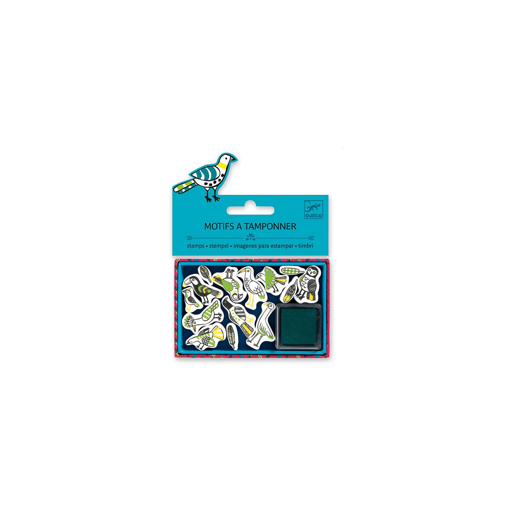 Набор штампов Птицы, DJECOРисование<br>Характеристики набора штампов Птицы:<br><br>• возраст: от 6 лет<br>• пол: универсальный<br>• комплект: 13 штампов, 1 подушечка с краской.<br>• состав: картон, пластик, текстиль, краситель.<br>• размер упаковки: 21 х 23 х 2 см.<br>• упаковка: пакет с хедером.<br>• бренд: Djeco<br>• страна обладатель бренда: Франция.<br><br>Набор штампов Птицы предназначен для создания оригинальных художественных шедевров и для декора уже готовых картин. Набор содержит 13 штампов с изображением оригинальных птичек, которым ребенок сможет украсить свои рисунки. Также, штампы можно использовать для декора канцелярских принадлежностей: дневника, тетрадей, альбомов, блокнотов. Мягкая подушечка, пропитанная чернилами, входит в комплект.<br><br>Набор штампов Птицы от торговой марки Djeco (Джеко) можно купить в нашем интернет-магазине.<br><br>Ширина мм: 110<br>Глубина мм: 15<br>Высота мм: 20<br>Вес г: 60<br>Возраст от месяцев: 36<br>Возраст до месяцев: 2147483647<br>Пол: Унисекс<br>Возраст: Детский<br>SKU: 5448846