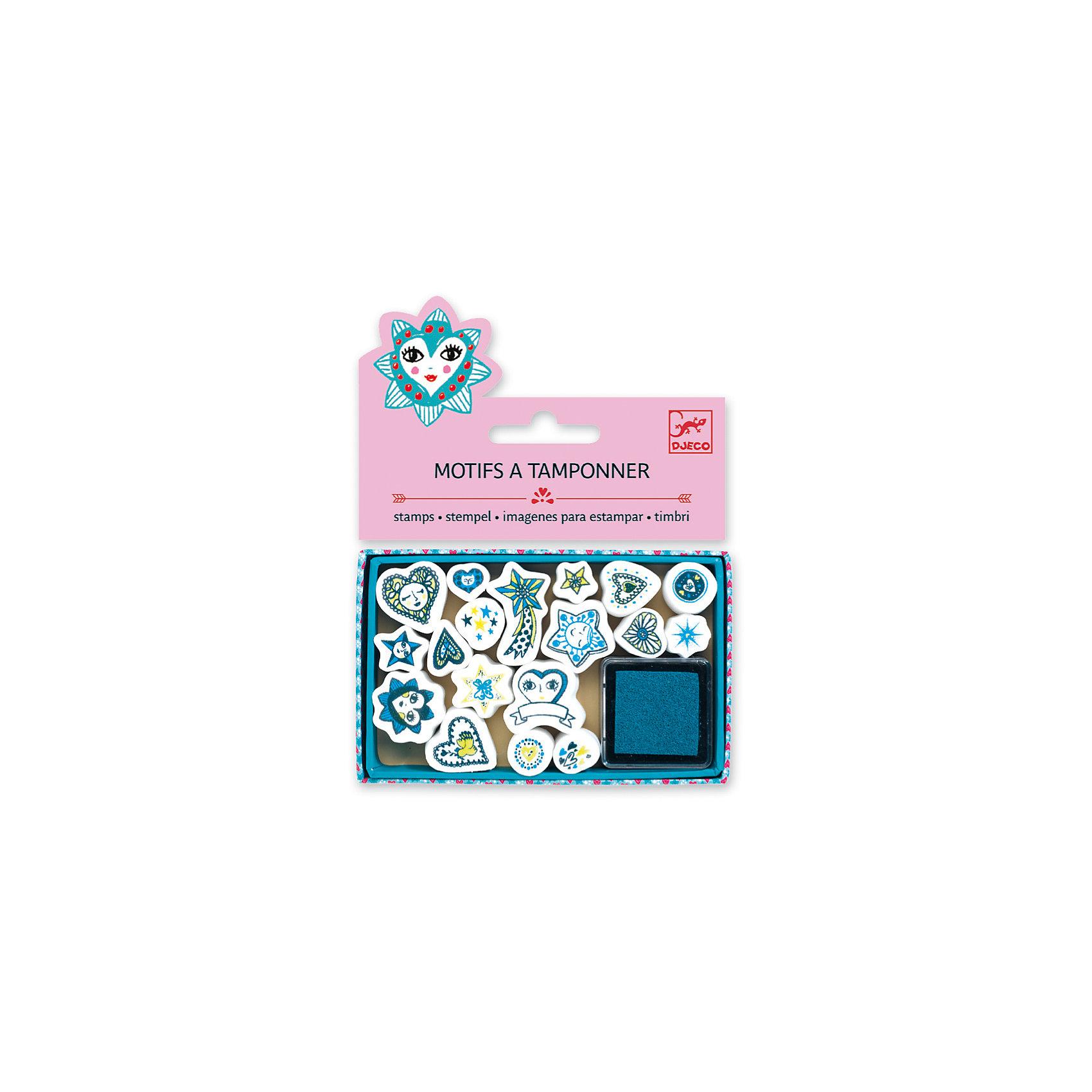 Набор штампов Сердечки и звезды, DJECOРисование<br>Характеристики набора штампов Сердечки и звезды:<br><br>• возраст: от 6 лет<br>• пол: для девочки<br>• комплект: 18 штампов, 1 подушечка с краской.<br>• состав: картон, пластик<br>• размер упаковки: 11.5x15.5x2 см<br>• упаковка: пакет с хедером.<br>• бренд: Djeco<br>• страна обладатель бренда: Франция.<br><br>В набор входят 18 штампов с сердечками и звездочками, а также подушечка, пропитанная краской. Перенося изображение на бумагу, ребенок сможет создать оригинальный красивый рисунок. Наборы для детского творчества развивают фантазию, воображение и творческие способности ребенка, учат его внимательности и усидчивости.<br><br>Набор штампов Сердечки и звезды от торговой марки Djeco (Джеко) можно купить в нашем интернет-магазине.<br><br>Ширина мм: 110<br>Глубина мм: 15<br>Высота мм: 10<br>Вес г: 54<br>Возраст от месяцев: 72<br>Возраст до месяцев: 2147483647<br>Пол: Женский<br>Возраст: Детский<br>SKU: 5448847