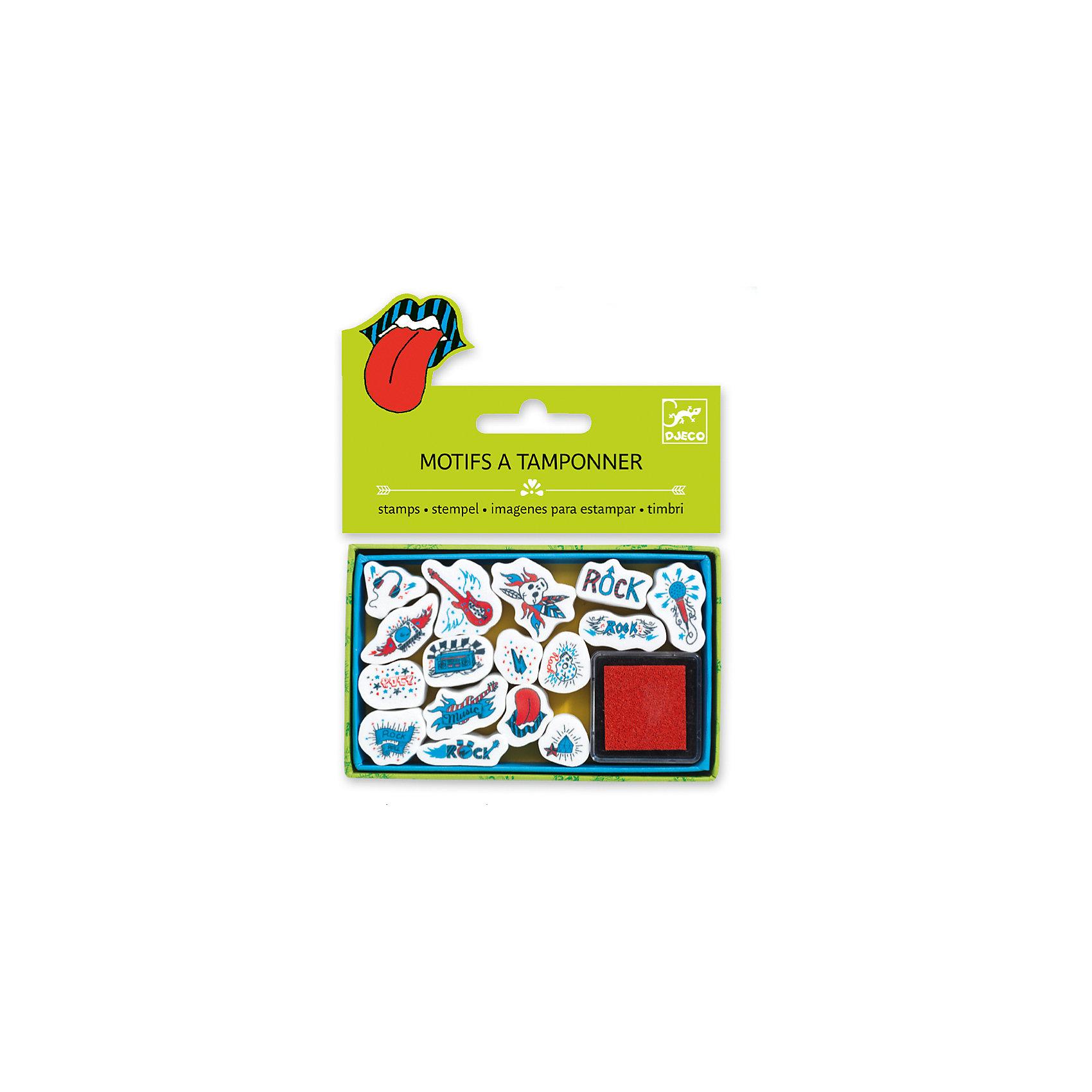 Набор штампов Музыка, DJECOРисование<br>Характеристики набора штампов Музыка:<br><br>• возраст: от 3 лет<br>• пол: универсальный<br>• комплект: 15 штампов с музыкальными символами, 1 подушечка с краской.<br>• состав: картон, пластик.<br>• размер упаковки: 21 х 23 х 2 см.<br>• упаковка: пакет с хедером.<br>• бренд: Djeco<br>• страна обладатель бренда: Франция.<br><br>Набор штампов Музыка замечательно подойдет для меломанов, а также работающих и учащихся в этой сфере. При помощи такого набора можно создавать тематические поздравительные открытки, конверты, приглашения и многое другое. В набор входит 15 штампов, которые сделают веселую жизнь музыканта еще более интересной и красочной.<br><br>Набор штампов Музыка от торговой марки Djeco (Джеко) можно купить в нашем интернет-магазине.<br><br>Ширина мм: 110<br>Глубина мм: 15<br>Высота мм: 10<br>Вес г: 55<br>Возраст от месяцев: 36<br>Возраст до месяцев: 2147483647<br>Пол: Унисекс<br>Возраст: Детский<br>SKU: 5448848