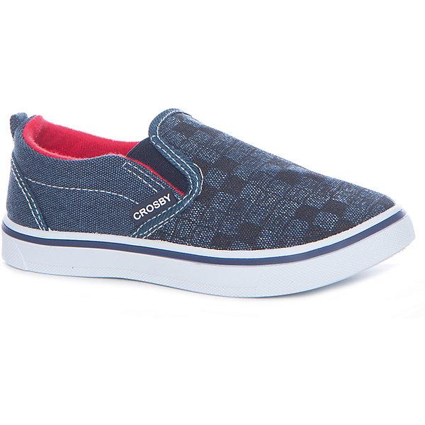 Слипоны для мальчика Crosby, синийСлипоны<br>Характеристики товара:<br><br>• цвет: синий <br>• материал верха: текстиль<br>• стелька: текстиль<br>• подошва: резина<br>• застежка: нет<br>• температурный режим: от +10°до +20°С<br>• стильный дизайн<br>• устойчивая подошва<br>• коллекция: весна-лето 2017<br>• страна бренда: Шотландия<br>• страна производства: Китай<br><br>Кеды удобно сидят на ноге и позволяют ногам дышать. <br><br>Они станут оригинальным акцентом в наряде! Отличный вариант летней обуви для ребенка.<br><br>Обувь от шотландского бренда CROSBY (Кросби) уже завоевала популярность у взрослых и детей в нашей стране. <br><br>Модели этой марки - неизменно стильные и удобные, их дизайн отличается оригинальностью и продуманностью. <br><br>Для производства этой обуви используются только проверенные, качественные материалы и фурнитура. <br><br>Порадуйте ребенка комфортными и современными вещами от CROSBY! <br><br>Кеды для мальчика от шотландского бренда CROSBY (Кросби) можно купить в нашем интернет-магазине.<br>Ширина мм: 250; Глубина мм: 150; Высота мм: 150; Вес г: 250; Цвет: синий; Возраст от месяцев: 96; Возраст до месяцев: 108; Пол: Мужской; Возраст: Детский; Размер: 32,31,35,34,33; SKU: 5449388;