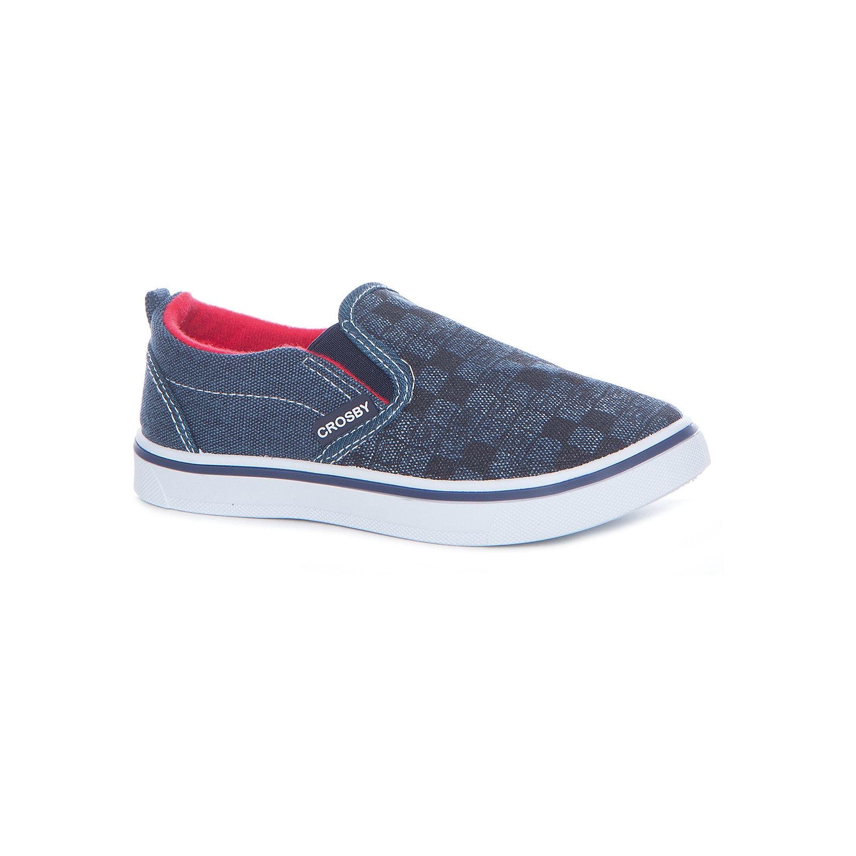 Слипоны для мальчика Crosby, синийСлипоны<br>Характеристики товара:<br><br>• цвет: синий <br>• материал верха: текстиль<br>• стелька: текстиль<br>• подошва: резина<br>• застежка: нет<br>• температурный режим: от +10°до +20°С<br>• стильный дизайн<br>• устойчивая подошва<br>• коллекция: весна-лето 2017<br>• страна бренда: Шотландия<br>• страна производства: Китай<br><br>Кеды удобно сидят на ноге и позволяют ногам дышать. <br><br>Они станут оригинальным акцентом в наряде! Отличный вариант летней обуви для ребенка.<br><br>Обувь от шотландского бренда CROSBY (Кросби) уже завоевала популярность у взрослых и детей в нашей стране. <br><br>Модели этой марки - неизменно стильные и удобные, их дизайн отличается оригинальностью и продуманностью. <br><br>Для производства этой обуви используются только проверенные, качественные материалы и фурнитура. <br><br>Порадуйте ребенка комфортными и современными вещами от CROSBY! <br><br>Кеды для мальчика от шотландского бренда CROSBY (Кросби) можно купить в нашем интернет-магазине.<br><br>Ширина мм: 250<br>Глубина мм: 150<br>Высота мм: 150<br>Вес г: 250<br>Цвет: синий<br>Возраст от месяцев: 96<br>Возраст до месяцев: 108<br>Пол: Мужской<br>Возраст: Детский<br>Размер: 32,35,31,33,34<br>SKU: 5449388