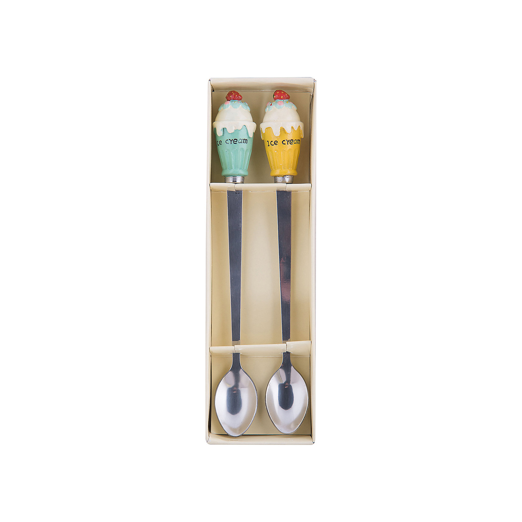 Набор столовых приборов, Феникс-ПрезентДетская посуда<br>Набор столовых приборов, Феникс-Презент<br><br>Характеристики:<br><br>• оригинальные ложки с украшением<br>• длина ложки: 23 см<br>• в комплекте: 2 ложки<br>• материал: нержавеющая сталь, полирезина<br>• размер упаковки: 7х24х3,5 см<br>• вес: 205 грамм<br><br>Оригинальные столовые приборы украсят ваш стол. В набор от Феникс-Презент входят две ложки длиной 23 сантиметра. На ручках расположены фигурки в виде мороженого из полирезины. С этими ложками любой обед станет праздником!<br><br>Набор столовых приборов, Феникс-Презент вы можете купить в нашем интернет-магазине.<br><br>Ширина мм: 200<br>Глубина мм: 300<br>Высота мм: 200<br>Вес г: 248<br>Возраст от месяцев: 36<br>Возраст до месяцев: 2147483647<br>Пол: Унисекс<br>Возраст: Детский<br>SKU: 5449517
