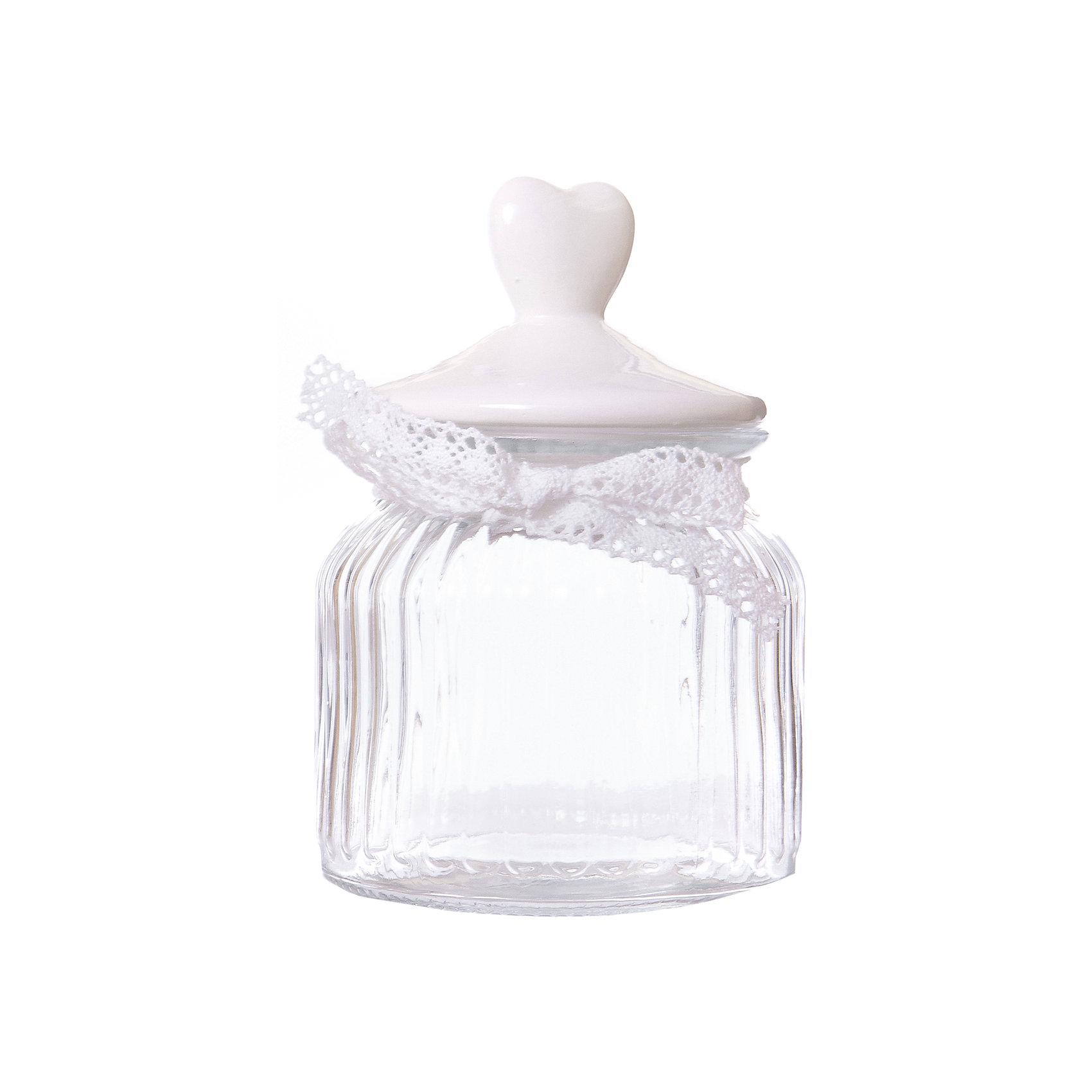 Стеклянная ёмкость для продуктов Белое сердечко, объем 600 мл., Феникс-ПрезентСтеклянная ёмкость для продуктов Белое сердечко, объем 600 мл., с декоративной крышкой из керамики. Прекрасно впишется в  интерьер любой кухни.<br><br>Ширина мм: 193<br>Глубина мм: 114<br>Высота мм: 114<br>Вес г: 596<br>Возраст от месяцев: 120<br>Возраст до месяцев: 2147483647<br>Пол: Унисекс<br>Возраст: Детский<br>SKU: 5449525