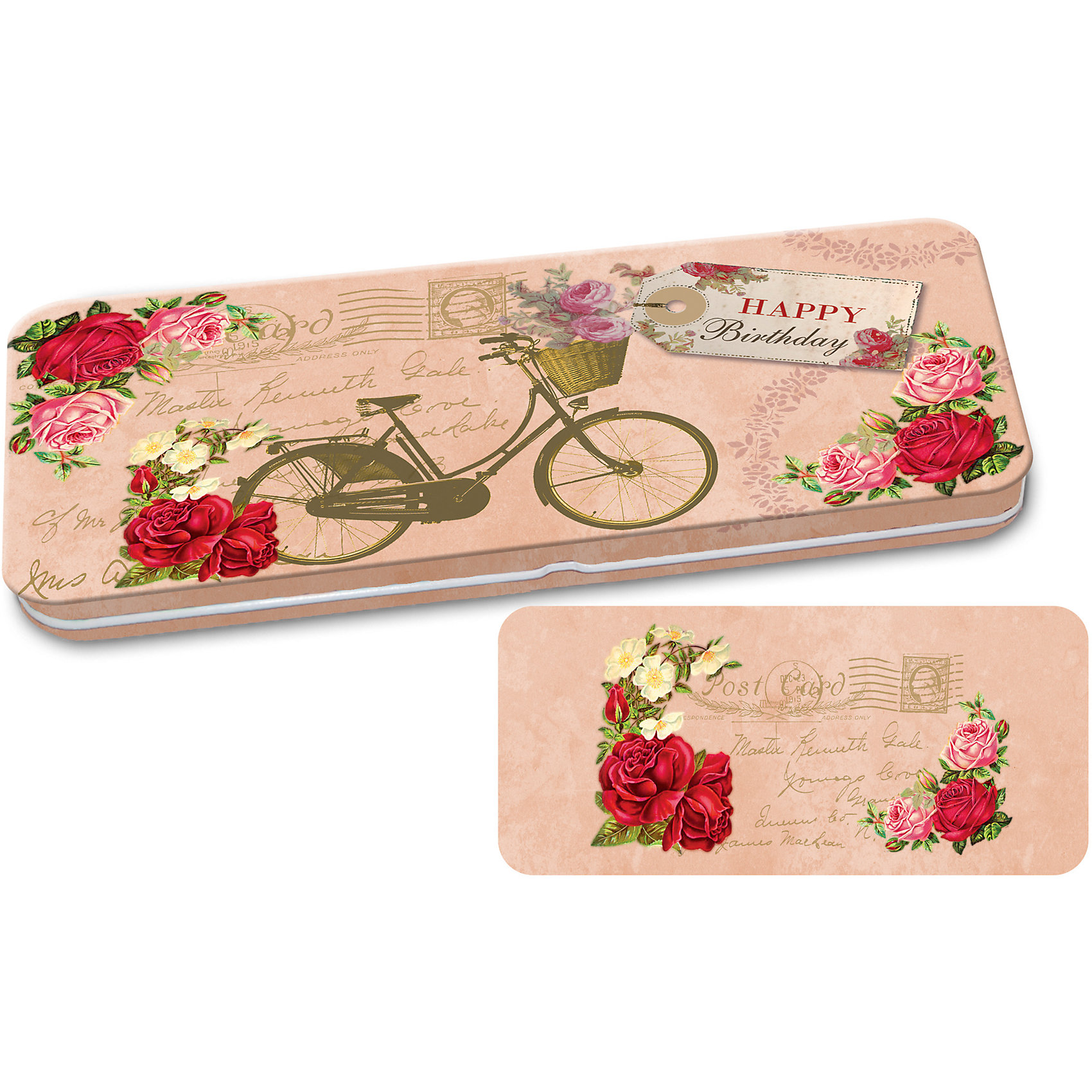 Конверт подарочный металлический для денег Велосипед, Феникс-ПрезентПредметы интерьера<br>Конверт подарочный металлический для денег Велосипед, Феникс-Презент<br><br>Характеристики:<br><br>• сделает денежный подарок запоминающимся<br>• яркий дизайн<br>• тип застежки: защелка<br>• размер: 16,6х7,6х1 см<br>• материал: металл<br><br>Металлический подарочный конверт с ярким дизайном придаст подарку оригинальности. Такой замечательный подарок получатель запомнит надолго! Конверт изготовлен из окрашенного металла и оформлен ярким изображением велосипеда на фоне цветов и надписью Happy birthday. Этот конверт идеально подойдет для подарка на день рождения!<br><br>Конверт подарочный металлический для денег Велосипед, Феникс-Презент вы можете купить в нашем интернет-магазине.<br><br>Ширина мм: 166<br>Глубина мм: 76<br>Высота мм: 10<br>Вес г: 560<br>Возраст от месяцев: 36<br>Возраст до месяцев: 2147483647<br>Пол: Унисекс<br>Возраст: Детский<br>SKU: 5449629