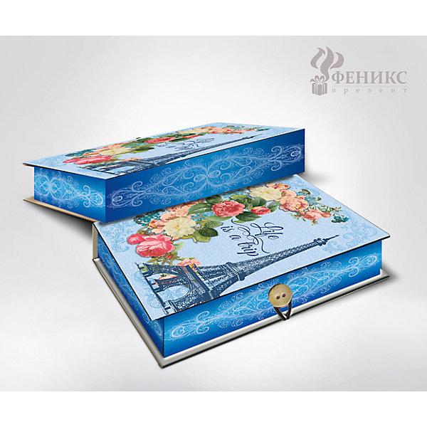 Коробка подарочная Апрельский Париж, Феникс-ПрезентДетские подарочные коробки<br>Коробка подарочная Апрельский Париж, Феникс-Презент<br><br>Характеристики:<br><br>• яркий дизайн<br>• застегивается на пуговицу<br>• рисунок с внутренней и наружной стороны<br>• изготовлена из мелованного, ламинированного негофрированного картона<br>• плотность: 1100 г/м2<br>• размер: 18х12х5 см<br><br>Красивая подарочная коробка - отличное дополнение к подарку. Подарочная коробка Апрельский Париж изготовлена из плотного ламинированного картона, декорированного изображением Эйфелевой башни, букета цветов и надписью Life is a trip. Застегивается на пуговицу. Подарочная коробка сделает подарок еще эффектнее!<br><br>Коробку подарочную Апрельский Париж, Феникс-Презент вы можете купить в нашем интернет-магазине.<br>Ширина мм: 180; Глубина мм: 120; Высота мм: 50; Вес г: 113; Возраст от месяцев: 36; Возраст до месяцев: 2147483647; Пол: Унисекс; Возраст: Детский; SKU: 5449636;
