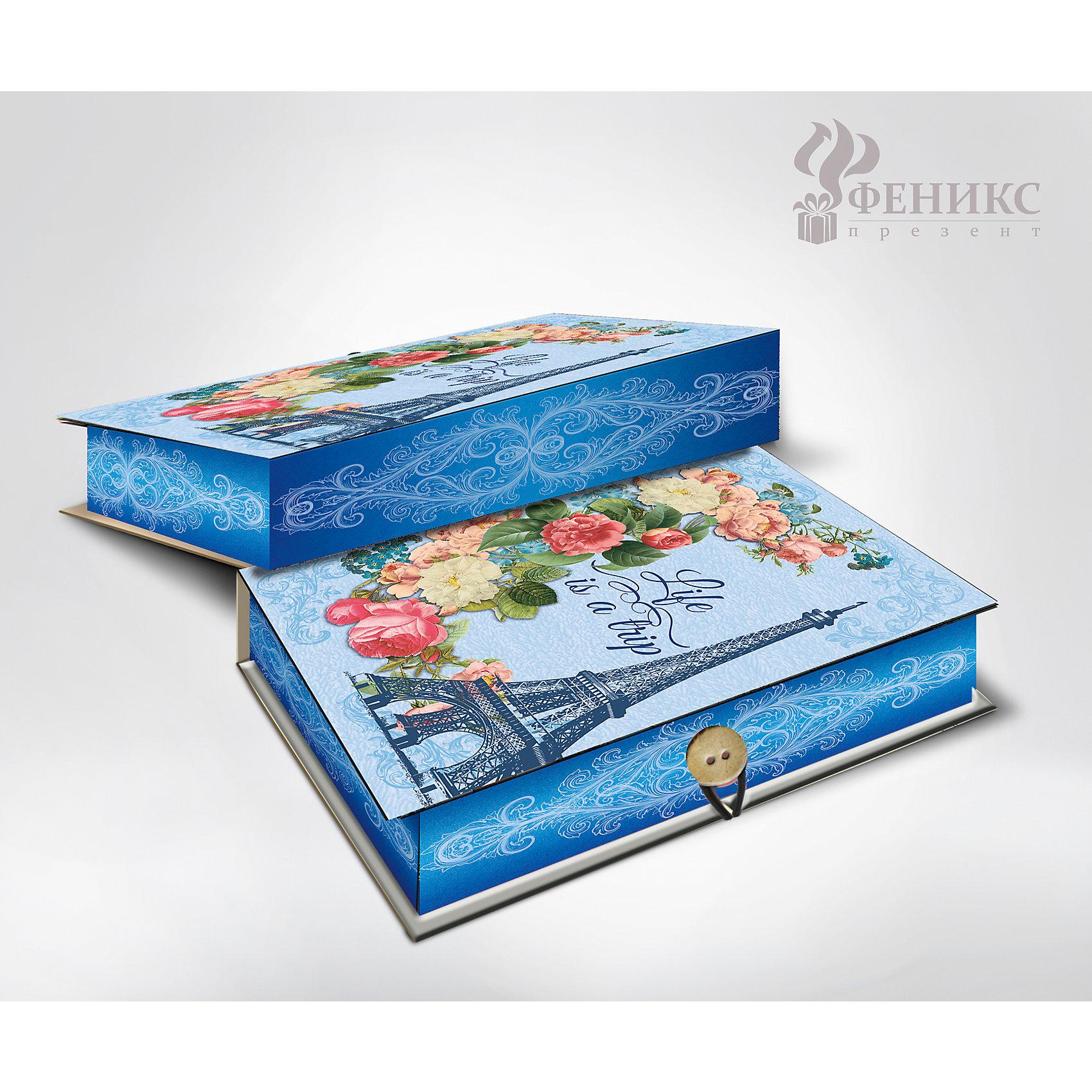 Коробка подарочная Апрельский Париж, Феникс-ПрезентПредметы интерьера<br>Коробка подарочная Апрельский Париж, Феникс-Презент<br><br>Характеристики:<br><br>• яркий дизайн<br>• застегивается на пуговицу<br>• рисунок с внутренней и наружной стороны<br>• изготовлена из мелованного, ламинированного негофрированного картона<br>• плотность: 1100 г/м2<br>• размер: 18х12х5 см<br><br>Красивая подарочная коробка - отличное дополнение к подарку. Подарочная коробка Апрельский Париж изготовлена из плотного ламинированного картона, декорированного изображением Эйфелевой башни, букета цветов и надписью Life is a trip. Застегивается на пуговицу. Подарочная коробка сделает подарок еще эффектнее!<br><br>Коробку подарочную Апрельский Париж, Феникс-Презент вы можете купить в нашем интернет-магазине.<br><br>Ширина мм: 180<br>Глубина мм: 120<br>Высота мм: 50<br>Вес г: 113<br>Возраст от месяцев: 36<br>Возраст до месяцев: 2147483647<br>Пол: Унисекс<br>Возраст: Детский<br>SKU: 5449636