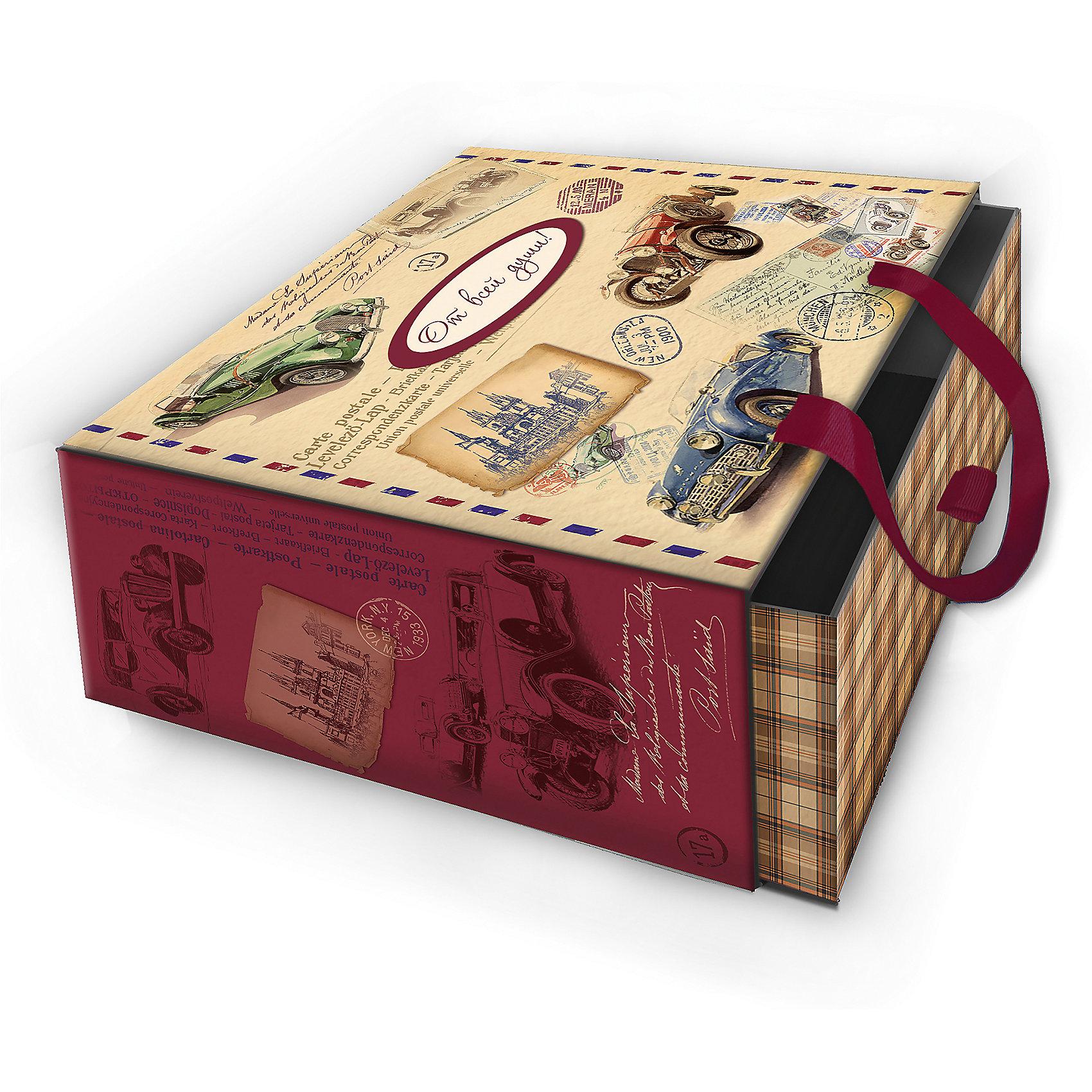 Коробка подарочная Ретро машины, 16х16х8см., Феникс-ПрезентПредметы интерьера<br>Коробка подарочная Ретро машины, 16х16х8см., Феникс-Презент<br><br>Характеристики:<br><br>• оригинальный дизайн<br>• удобные ручки на внешней стороне<br>• петелька на внутренней части<br>• размер: 16х16х8 см<br>• материал: ламинированный картон, текстиль<br><br>Если вы хотите добавить подарку оригинальности - используйте необычную подарочную коробку. Коробка Ретро машины изготовлена из прочного ламинированного картона. Она состоит из двух частей. Внутренняя часть вставляется в наружную. На внутренней части есть небольшая петелька, с помощью которой получатель с легкостью достанет подарок. Наружная часть имеет две красивые ручки для удобства переноски. Коробка оформлена изображением ретро автомобилей.<br><br>Коробку подарочную Ретро машины, 16х16х8см., Феникс-Презент можно купить в нашем интернет-магазине.<br><br>Ширина мм: 160<br>Глубина мм: 160<br>Высота мм: 80<br>Вес г: 121<br>Возраст от месяцев: 36<br>Возраст до месяцев: 2147483647<br>Пол: Унисекс<br>Возраст: Детский<br>SKU: 5449644