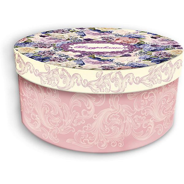 Коробка подарочная Лиловые букеты, 14х14х7см., Феникс-Презент