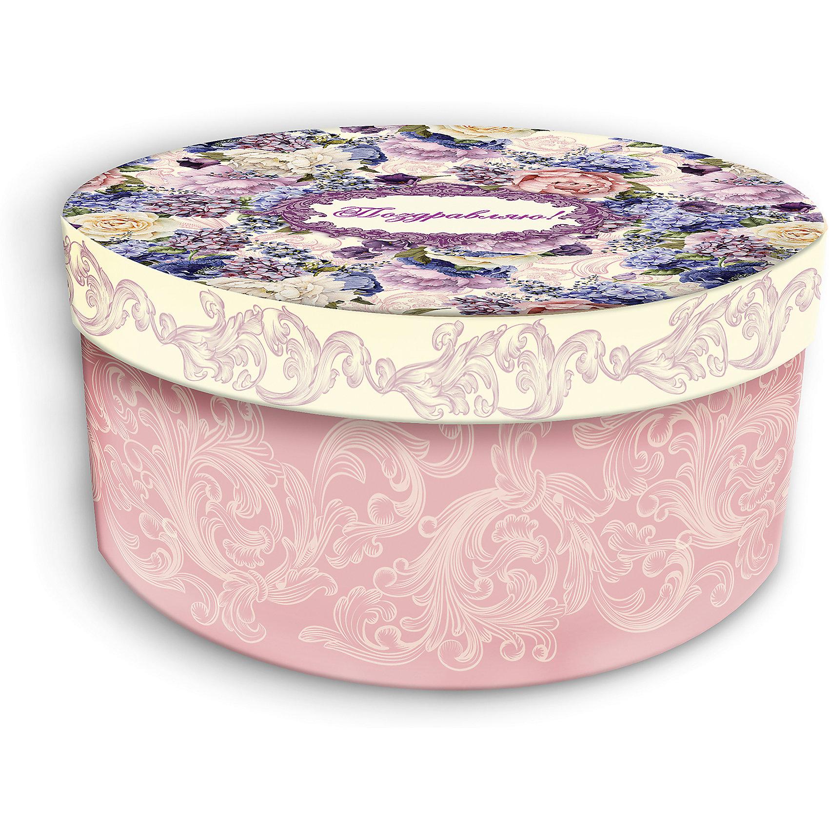 Коробка подарочная Лиловые букеты, 14х14х7см., Феникс-ПрезентПредметы интерьера<br>Коробка подарочная Лиловые букеты, 14х14х7см., Феникс-Презент<br><br>Характеристики:<br><br>• подарочная коробка с крышкой<br>• оригинальный дизайн<br>• изготовлена из мелованного ламинированного картона<br>• плотность 1100 г/м2<br>• рисунок на внутренней и наружной стороне<br>• размер: 14х14х7 см<br><br>Красивая подарочная коробка подарит массу положительных эмоций и создаст праздничное настроение. Коробка Лиловые букеты изготовлена из плотного ламинированного картона. Наружная сторона оформлена ярким цветочным узором лилового оттенка и надписью Поздравляю!. Изделие имеет круглую форму, закрывается с помощью крышки. Такой подарок не оставит получателя равнодушным!<br><br>Коробка подарочная Лиловые букеты, 14х14х7см., Феникс-Презент вы можете купить в нашем интернет-магазине.<br><br>Ширина мм: 140<br>Глубина мм: 140<br>Высота мм: 70<br>Вес г: 60<br>Возраст от месяцев: 36<br>Возраст до месяцев: 2147483647<br>Пол: Унисекс<br>Возраст: Детский<br>SKU: 5449649