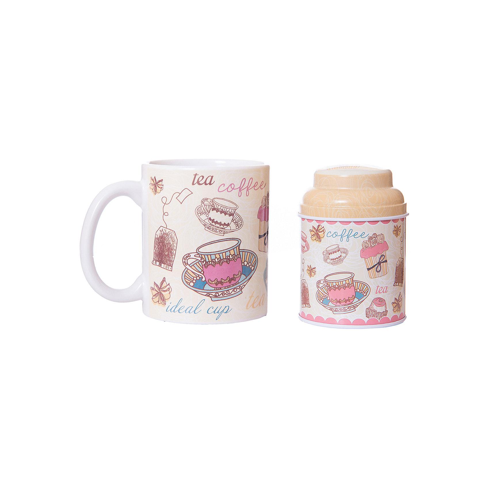Набор подарочный  Чайное утро, Феникс-ПрезентПосуда<br>Набор подарочный Чайное утро, Феникс-Презент<br><br>Характеристики:<br><br>• набор в подарочной упаковке для любителей чая<br>• в комплекте: кружка, баночка для чая<br>• объем кружки: 300 мл<br>• материал кружки: керамика<br>• материал баночки: черный металл<br>• размер коробки: 12х9х11 см<br><br>Любители чая непременно порадуются набору Чайное утро! В комплект входит кружка и баночка для чая. Кружка изготовлена из керамики, а баночка из металла. Оба изделия оформлены изображением чашек, чайных пакетиков, десертов и надписями. Набор представлен в красивой упаковке - вы сможете преподнести его в подарок!<br><br>Набор подарочный Чайное утро, Феникс-Презент вы можете купить в нашем интернет-магазине.<br><br>Ширина мм: 120<br>Глубина мм: 90<br>Высота мм: 110<br>Вес г: 457<br>Возраст от месяцев: 120<br>Возраст до месяцев: 2147483647<br>Пол: Унисекс<br>Возраст: Детский<br>SKU: 5449663