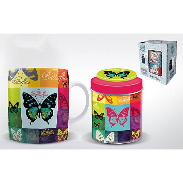 Набор подарочный  Радужные бабочки, Феникс-ПрезентНовогодние сувениры<br>Набор подарочный Радужные бабочки, Феникс-Презент<br><br>Характеристики:<br><br>• набор в подарочной упаковке для любителей чая<br>• в комплекте: кружка, баночка для чая<br>• объем кружки: 300 мл<br>• материал кружки: керамика<br>• материал баночки: черный металл<br>• размер коробки: 12х9х11 см<br><br>Любители чая непременно порадуются набору Радужные бабочки! В комплект входит кружка и баночка для чая. Кружка изготовлена из керамики, а баночка из металла. Оба изделия оформлены изображением бабочек, разноцветных квадратов и надписями. Набор представлен в красивой упаковке - вы сможете преподнести его в подарок!<br><br>Набор подарочный Радужные бабочки, Феникс-Презент вы можете купить в нашем интернет-магазине.<br><br>Ширина мм: 120<br>Глубина мм: 90<br>Высота мм: 110<br>Вес г: 458<br>Возраст от месяцев: 120<br>Возраст до месяцев: 2147483647<br>Пол: Унисекс<br>Возраст: Детский<br>SKU: 5449664