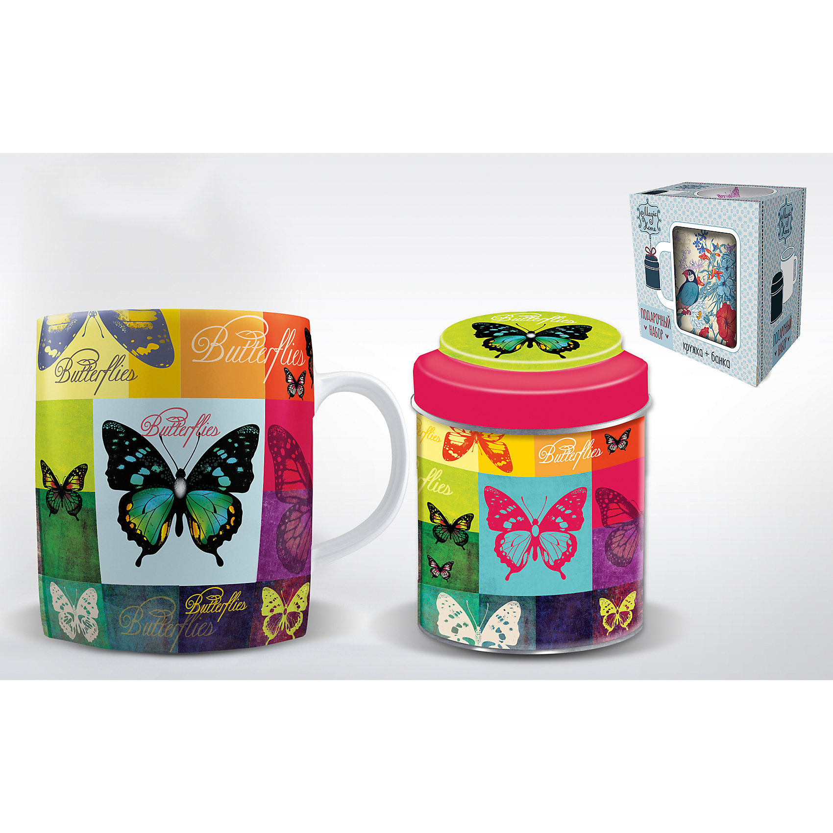 Набор подарочный  Радужные бабочки, Феникс-ПрезентПосуда<br>Набор подарочный Радужные бабочки, Феникс-Презент<br><br>Характеристики:<br><br>• набор в подарочной упаковке для любителей чая<br>• в комплекте: кружка, баночка для чая<br>• объем кружки: 300 мл<br>• материал кружки: керамика<br>• материал баночки: черный металл<br>• размер коробки: 12х9х11 см<br><br>Любители чая непременно порадуются набору Радужные бабочки! В комплект входит кружка и баночка для чая. Кружка изготовлена из керамики, а баночка из металла. Оба изделия оформлены изображением бабочек, разноцветных квадратов и надписями. Набор представлен в красивой упаковке - вы сможете преподнести его в подарок!<br><br>Набор подарочный Радужные бабочки, Феникс-Презент вы можете купить в нашем интернет-магазине.<br><br>Ширина мм: 120<br>Глубина мм: 90<br>Высота мм: 110<br>Вес г: 458<br>Возраст от месяцев: 120<br>Возраст до месяцев: 2147483647<br>Пол: Унисекс<br>Возраст: Детский<br>SKU: 5449664