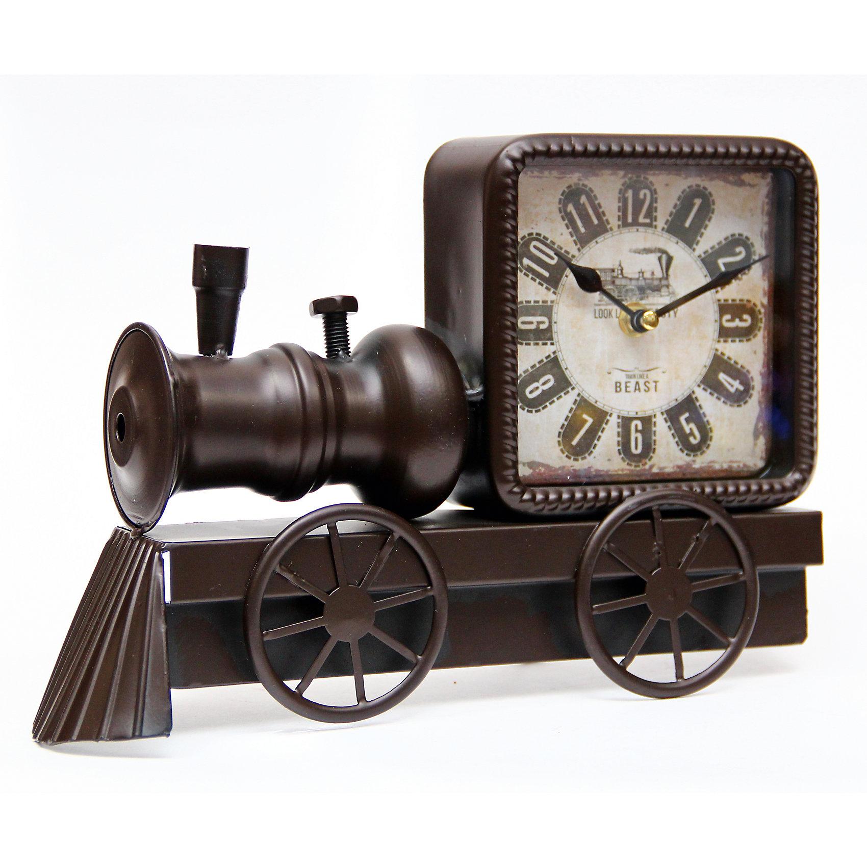Часы Паровоз настольные кварцевые, Феникс-ПрезентДетские предметы интерьера<br>Часы Паровоз настольные кварцевые, Феникс-Презент<br><br>Характеристики:<br><br>• оригинальный дизайн в виде паровоза<br>• тип часов: кварцевые<br>• размер: 30х7х21 см<br>• материал: металл<br>• материал циферблата: металл с покрытием из принтованной бумаги<br>• батарейки: АА - 1 шт. (не входит в комплект)<br><br>Часы Паровоз станут украшением вашего интерьера. Часы изготовлены в форме паровоза. Изделие выполнено из металла. Циферблат покрыт принтованной бумагой. Часы оснащены минутной и секундной стрелками. <br><br>Часы Паровоз настольные кварцевые, Феникс-Презент вы можете купить в нашем интернет-магазине.<br><br>Ширина мм: 310<br>Глубина мм: 70<br>Высота мм: 210<br>Вес г: 917<br>Возраст от месяцев: 120<br>Возраст до месяцев: 2147483647<br>Пол: Унисекс<br>Возраст: Детский<br>SKU: 5449708