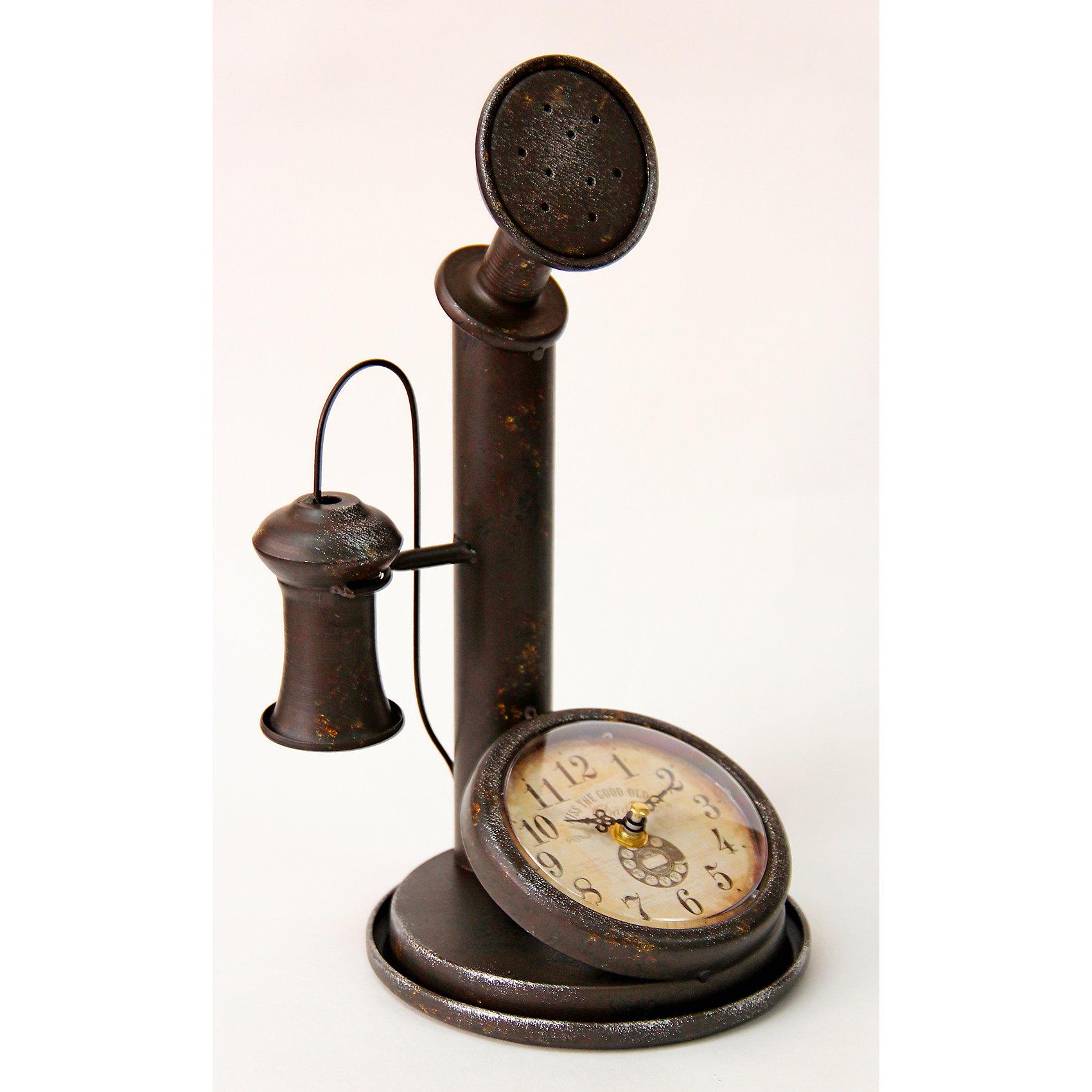 Часы Ретро телефон настольные кварцевые, Феникс-ПрезентПредметы интерьера<br>Часы Ретро телефон настольные кварцевые, Феникс-Презент<br><br>Характеристики:<br><br>• оригинальный дизайн в виде ретро телефона<br>• тип часов: кварцевые<br>• размер: 33х17х18 см<br>• материал: металл<br>• материал циферблата: металл с покрытием из принтованной бумаги<br>• батарейки: АА - 1 шт. (не входит в комплект)<br><br>Часы Ретро телефон изготовлены из качественного металла. Циферблат покрыт принтованной бумагой. Часы выполнены в виде старинного телефона. Они оживят интерьер комнаты, создавая неповторимый стиль. Кроме того, часы можно преподнести в подарок.<br><br>Часы Ретро телефон настольные кварцевые, Феникс-Презент можно купить в нашем интернет-магазине.<br><br>Ширина мм: 180<br>Глубина мм: 170<br>Высота мм: 330<br>Вес г: 717<br>Возраст от месяцев: 120<br>Возраст до месяцев: 2147483647<br>Пол: Унисекс<br>Возраст: Детский<br>SKU: 5449712
