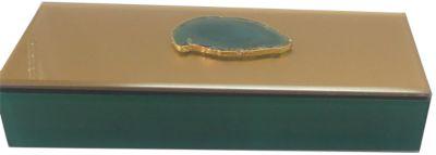 Шкатулка Дымчато-зеленый агат из стекла для мелочей, Феникс-Презент