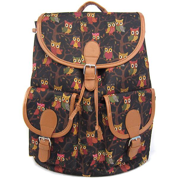 Рюкзак Филины с 2-мя карманами, цвет черный