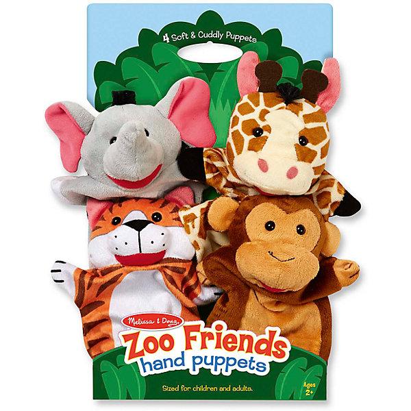 Плюшевые куклы на руку Зоопарк, Melissa &amp; DougМягкие игрушки на руку<br>Плюшевые куклы на руку Зоопарк, Melissa &amp; Doug<br><br>Характеристики:<br><br>• В набор входит: 4 игрушки<br>• Материал: плюш<br>• Размер упаковки: 37 * 7 * 22 см.<br>• Состав: плотный картон<br>• Вес: 250 г.<br>• Для детей в возрасте: от 2 до 6 лет<br>• Страна производитель: Китай<br><br>В набор входит четверо милых зверей: тигр, обезьянка, жираф и слон. Игрушки идеально подойдут для ролевых игр и домашнего театра. Тема животных делает игры очень простыми, в ходе которых дети пополнят свой словарный запас новыми совами и весело проведут время в кругу семьи. Игрушки можно стирать в стиральной машине и они прослужат долгие годы, благодаря надежным материалам и высокому качеству. <br><br>Плюшевые куклы на руку Зоопарк, Melissa &amp; Doug можно купить в нашем интернет-магазине.<br>Ширина мм: 220; Глубина мм: 70; Высота мм: 370; Вес г: 250; Возраст от месяцев: 24; Возраст до месяцев: 2147483647; Пол: Унисекс; Возраст: Детский; SKU: 5451049;