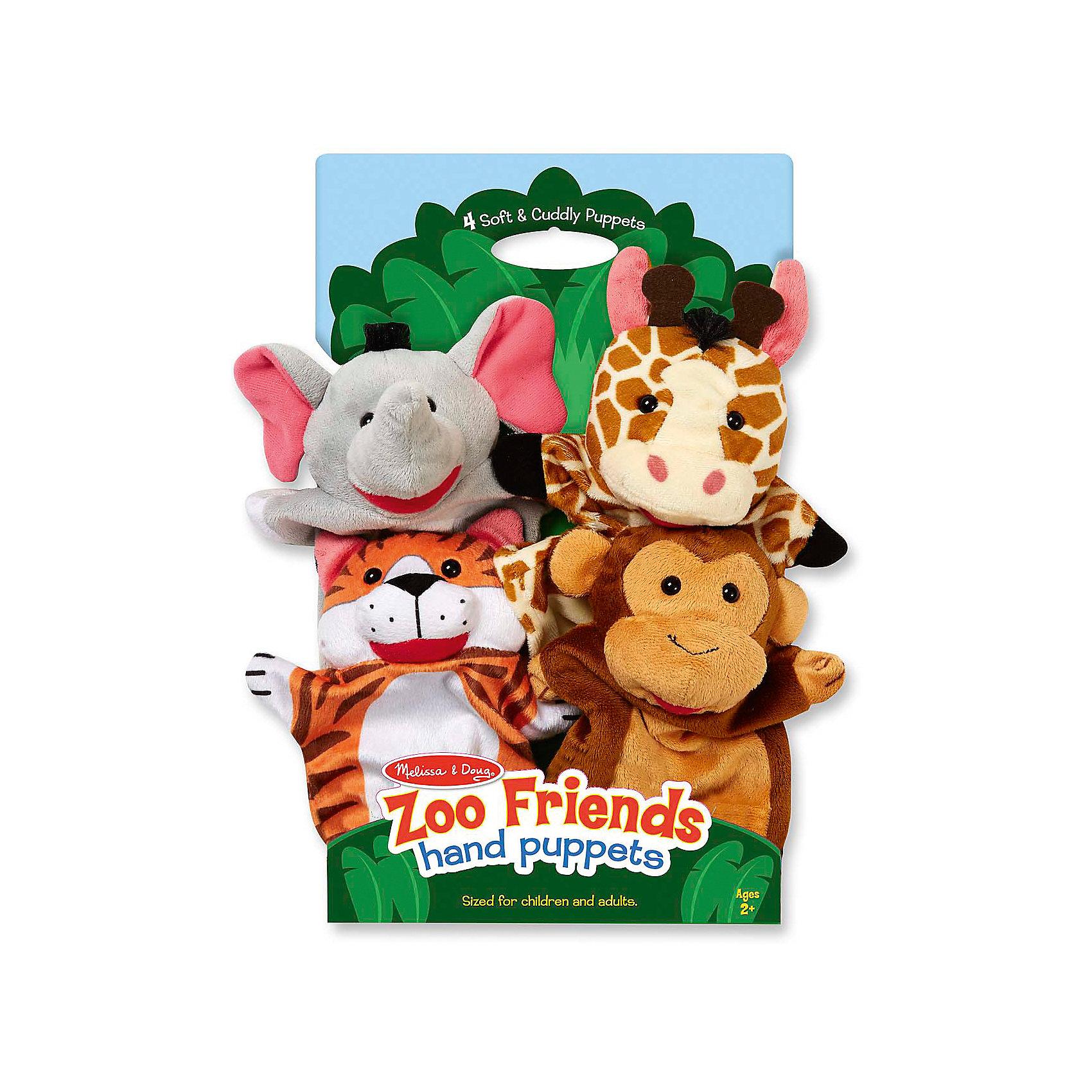 Плюшевые куклы на руку Зоопарк, Melissa &amp; DougМягкие игрушки на руку<br>Плюшевые куклы на руку Зоопарк, Melissa &amp; Doug<br><br>Характеристики:<br><br>• В набор входит: 4 игрушки<br>• Материал: плюш<br>• Размер упаковки: 37 * 7 * 22 см.<br>• Состав: плотный картон<br>• Вес: 250 г.<br>• Для детей в возрасте: от 2 до 6 лет<br>• Страна производитель: Китай<br><br>В набор входит четверо милых зверей: тигр, обезьянка, жираф и слон. Игрушки идеально подойдут для ролевых игр и домашнего театра. Тема животных делает игры очень простыми, в ходе которых дети пополнят свой словарный запас новыми совами и весело проведут время в кругу семьи. Игрушки можно стирать в стиральной машине и они прослужат долгие годы, благодаря надежным материалам и высокому качеству. <br><br>Плюшевые куклы на руку Зоопарк, Melissa &amp; Doug можно купить в нашем интернет-магазине.<br><br>Ширина мм: 220<br>Глубина мм: 70<br>Высота мм: 370<br>Вес г: 250<br>Возраст от месяцев: 24<br>Возраст до месяцев: 2147483647<br>Пол: Унисекс<br>Возраст: Детский<br>SKU: 5451049