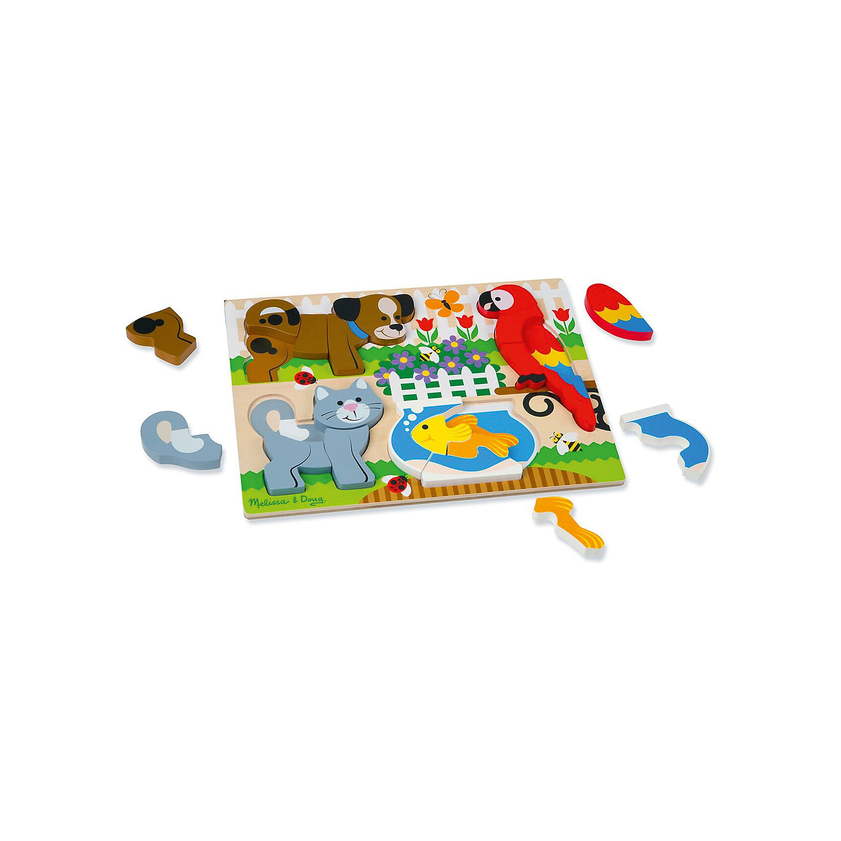 Мои первые пазлы Домашние животные, Melissa &amp; DougПазлы для малышей<br>Мои первые пазлы Домашние животные, Melissa &amp; Doug<br><br>Характеристики:<br><br>• В набор входит: рамка, детали пазла<br>• Количество деталей: 20 шт.<br>• Размер пазла: 40 * 3 * 30 см.<br>• Состав: дерево, картон, ПВХ<br>• Вес: 1430 г.<br>• Для детей в возрасте: от 2 до 4 лет<br>• Страна производитель: Китай<br><br>С этим пазлом вы можете собрать сразу четырёх домашних любимцев: собачку, кошечку, попугайчика и золотую рыбку. Под каждым животным расположена соответствующая картинка, чтобы малыш мог сопоставлять детали пазла и размещать их.  Каждое животное состоит из 4х, 5ти или 6ти деталей. Вы можете собирать с ребёнком каждую картинку по отдельности или усложнить задачу перемешав детали всех четырёх животных. Вы можете выучить цвета, названия животных и развивать самооценку малыша, ведь он сможет собрать все картинки самостоятельно! <br><br>Мои первые пазлы Домашние животные, Melissa &amp; Doug можно купить в нашем интернет-магазине.<br><br>Ширина мм: 400<br>Глубина мм: 30<br>Высота мм: 300<br>Вес г: 1429<br>Возраст от месяцев: 24<br>Возраст до месяцев: 2147483647<br>Пол: Унисекс<br>Возраст: Детский<br>SKU: 5451050