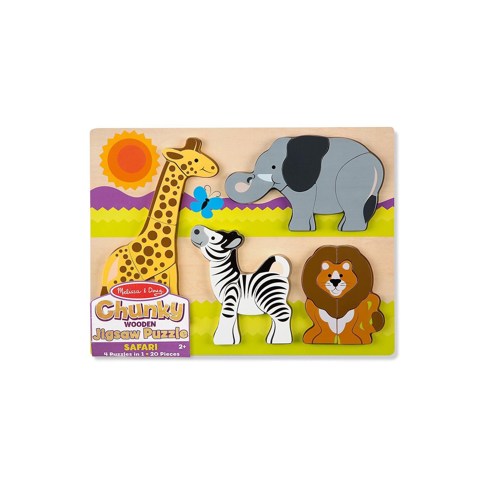 Мои первые пазлы Животные, Melissa &amp; DougПазлы для малышей<br>Мои первые пазлы Животные, Melissa &amp; Doug<br><br>Характеристики:<br><br>• В набор входит: рамка, детали пазла<br>• Количество деталей: 20 шт.<br>• Размер пазла: 40 * 3 * 30 см.<br>• Состав: дерево, картон, ПВХ<br>• Вес: 1430 г.<br>• Для детей в возрасте: от 2 до 4 лет<br>• Страна производитель: Китай<br><br>С этим пазлом вы можете собрать сразу четырёх животных Африки: жирафа, зебру, льва и слона. Под каждым животным расположена соответствующая картинка, чтобы малыш мог сопоставлять детали пазла и размещать их.  Каждое животное состоит из 4х, 5ти или 6ти деталей. Вы можете собирать с ребёнком каждую картинку по отдельности или усложнить задачу перемешав детали всех четырёх животных. Вы можете выучить цвета, названия животных и развивать самооценку малыша, ведь он сможет собрать все картинки самостоятельно! <br><br>Мои первые пазлы Животные, Melissa &amp; Doug можно купить в нашем интернет-магазине.<br><br>Ширина мм: 400<br>Глубина мм: 30<br>Высота мм: 300<br>Вес г: 1429<br>Возраст от месяцев: 24<br>Возраст до месяцев: 2147483647<br>Пол: Унисекс<br>Возраст: Детский<br>SKU: 5451052