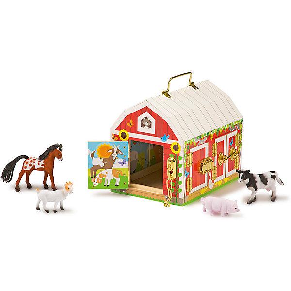 Деревянные игрушки Дом с замочками, Melissa &amp; DougИгровые наборы с фигурками<br>Деревянные игрушки Дом с замочками, Melissa &amp; Doug<br><br>Характеристики:<br><br>• В набор входит: домик, 4 фигурки<br>• Размер игрушки: 23 * 17 * 20 см.<br>• Состав: дерево, картон, ПВХ<br>• Вес: 1610 г.<br>• Для детей в возрасте: от 3 до 5 лет<br>• Страна производитель: Китай <br><br>Домик удобно перемещать благодаря ручке на крышке, как снаружи, так и внутри домика расположены красочные рисунки. У амбара всего шесть разнообразных по формату и стилю дверей, которые закрываются на уникальные замочки. В набор входят шпингалеты, цепочки, крючковый замок, замок-клипса и задвижка, все они выполнены очень качественно и представлены в блестящем золотом цвете.<br><br>В амбаре размещены четыре фигурки животных фермы: лошадь, коза, корова и свинья. Шкурки животных отделаны мягким материалом, благодаря которому на ощупь они как бархат. Ребёнок будет много играть с этим занимательным развивающим амбаром и его животными. <br><br>Деревянные игрушки Дом с замочками, Melissa &amp; Doug можно купить в нашем интернет-магазине.<br><br>Ширина мм: 200<br>Глубина мм: 170<br>Высота мм: 230<br>Вес г: 1610<br>Возраст от месяцев: 36<br>Возраст до месяцев: 2147483647<br>Пол: Унисекс<br>Возраст: Детский<br>SKU: 5451054