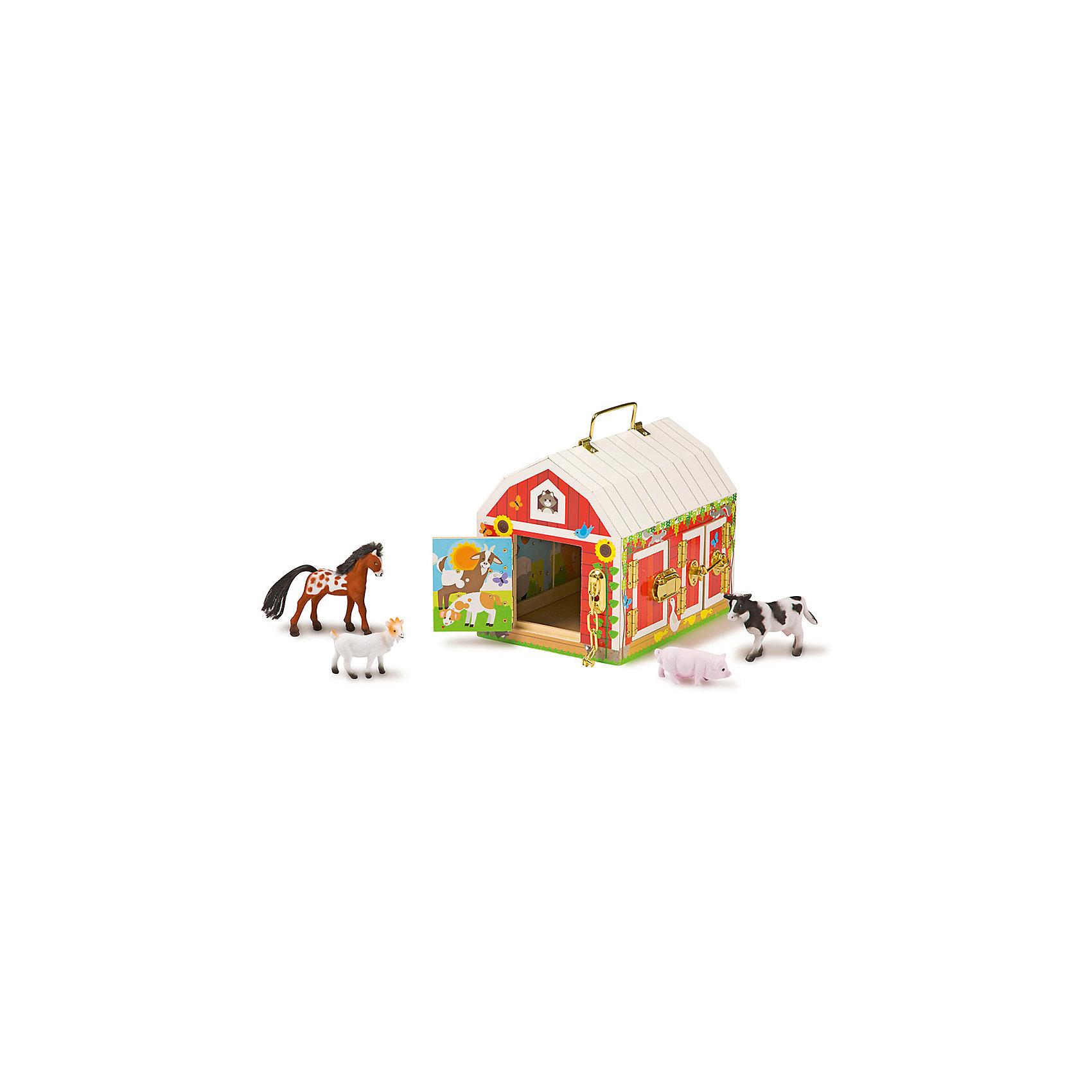 Деревянные игрушки Дом с замочками, Melissa &amp; DougИгрушечные домики и замки<br>Деревянные игрушки Дом с замочками, Melissa &amp; Doug<br><br>Характеристики:<br><br>• В набор входит: домик, 4 фигурки<br>• Размер игрушки: 23 * 17 * 20 см.<br>• Состав: дерево, картон, ПВХ<br>• Вес: 1610 г.<br>• Для детей в возрасте: от 3 до 5 лет<br>• Страна производитель: Китай <br><br>Домик удобно перемещать благодаря ручке на крышке, как снаружи, так и внутри домика расположены красочные рисунки. У амбара всего шесть разнообразных по формату и стилю дверей, которые закрываются на уникальные замочки. В набор входят шпингалеты, цепочки, крючковый замок, замок-клипса и задвижка, все они выполнены очень качественно и представлены в блестящем золотом цвете.<br><br>В амбаре размещены четыре фигурки животных фермы: лошадь, коза, корова и свинья. Шкурки животных отделаны мягким материалом, благодаря которому на ощупь они как бархат. Ребёнок будет много играть с этим занимательным развивающим амбаром и его животными. <br><br>Деревянные игрушки Дом с замочками, Melissa &amp; Doug можно купить в нашем интернет-магазине.<br><br>Ширина мм: 200<br>Глубина мм: 170<br>Высота мм: 230<br>Вес г: 1610<br>Возраст от месяцев: 36<br>Возраст до месяцев: 2147483647<br>Пол: Унисекс<br>Возраст: Детский<br>SKU: 5451054