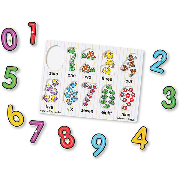 Мои первые пазлы Цифры, Melissa &amp; DougПазлы для малышей<br>Мои первые пазлы Цифры, Melissa &amp; Doug<br><br>Характеристики:<br><br>• В набор входит: рамка, детали пазла<br>• Количество деталей: 10 шт.<br>• Размер пазла: 30 * 1 * 22 см.<br>• Состав: дерево, картон, ПВХ<br>• Вес: 360 г.<br>• Для детей в возрасте: от 2 до 4 лет<br>• Страна производитель: Китай<br><br>Цифры от 0 до 9 расположены структурировано, они отлично вырезаны по контуру избегая острых углов. В рамке для пазлов на месте цифр расположены веселые картинки с животными и цветами, которые помогут малышу научиться считать и визуально воспринимать количество предметов и соответствующую им цифру. <br><br>Ребёнок сможет доставать цифры и играть с ними, а в дальнейшем сможет и составлять более сложные цифры чтобы запоминать номер своего дома или квартиры. Также пазл можно использовать как сортер-считалочку, ведь каждая цифра входит только в свой отсек, а цифры расположены по порядку.<br><br>Мои первые пазлы Цифры, Melissa &amp; Doug можно купить в нашем интернет-магазине.<br><br>Ширина мм: 300<br>Глубина мм: 10<br>Высота мм: 220<br>Вес г: 363<br>Возраст от месяцев: 24<br>Возраст до месяцев: 2147483647<br>Пол: Унисекс<br>Возраст: Детский<br>SKU: 5451055