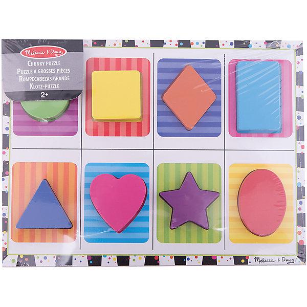 Первые навыки Фигуры, Melissa &amp; DougИзучаем цвета и формы<br>Первые навыки Фигуры, Melissa &amp; Doug<br><br>Характеристики:<br><br>• В набор входит: рамка, детали фигур<br>• Количество деталей: 8 шт.<br>• Размер рамки: 30 * 1 * 23 см.<br>• Состав: дерево, картон, ПВХ<br>• Вес: 680 г.<br>• Для детей в возрасте: от 2 до 4 лет<br>• Страна производитель: Китай<br><br>Каждая фигура набора представлена в разном цвете, чтобы малыш смог вместе с фигурами выучить и цвета. Большие и широкие фигуры удобно помещаются в маленькие ручки и легко вставляются на свои места в фирменную рамку. В наборе представлены: круг, квадрат, ромб, прямоугольник, сердце, звезда, овал и треугольник, фигуры подписаны на английском языке. <br><br>Первые навыки Фигуры, Melissa &amp; Doug можно купить в нашем интернет-магазине.<br>Ширина мм: 300; Глубина мм: 10; Высота мм: 230; Вес г: 680; Возраст от месяцев: 24; Возраст до месяцев: 2147483647; Пол: Унисекс; Возраст: Детский; SKU: 5451056;