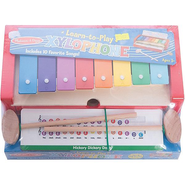 Ксилофон Melissa&amp;DougДетские музыкальные инструменты<br>Ксилофон, Melissa &amp; Doug<br><br>Характеристики:<br><br>• В набор входит: ксилофон, два молоточка, 5 карточек<br>• Количество деталей: 8 шт.<br>• Размер рамки: 28 * 10 * 20 см.<br>• Состав: дерево, картон, ПВХ<br>• Вес: 1100 г.<br>• Для детей в возрасте: от 3 до 5 лет<br>• Страна производитель: Китай<br><br>Для детишек, которые готовы к новому музыкальному шагу, в небольшом ящичке ксилофона лежат пять двухсторонних карточек с мелодиями. Каждая нота отмечена цветом клавиши, что будет очень удобно юному музыканту. Ксилофон оснащен держателем для карточек, чтобы ребёнку было ещё проще творить. В набор входят такие классические английские и американские детские песенки как: Старый МакДональд и его ферма; Твинкл, маленькая звёздочка; Маффин Мэн; Плыви, лодочка; Я маленький чайник и не только. Слова песенок по нотам написаны на английском языке, поэтому малыш сможет выучить слова на иностранном языке. <br><br>Ксилофон, Melissa &amp; Doug можно купить в нашем интернет-магазине.<br><br>Ширина мм: 280<br>Глубина мм: 200<br>Высота мм: 100<br>Вес г: 1111<br>Возраст от месяцев: 36<br>Возраст до месяцев: 2147483647<br>Пол: Унисекс<br>Возраст: Детский<br>SKU: 5451057