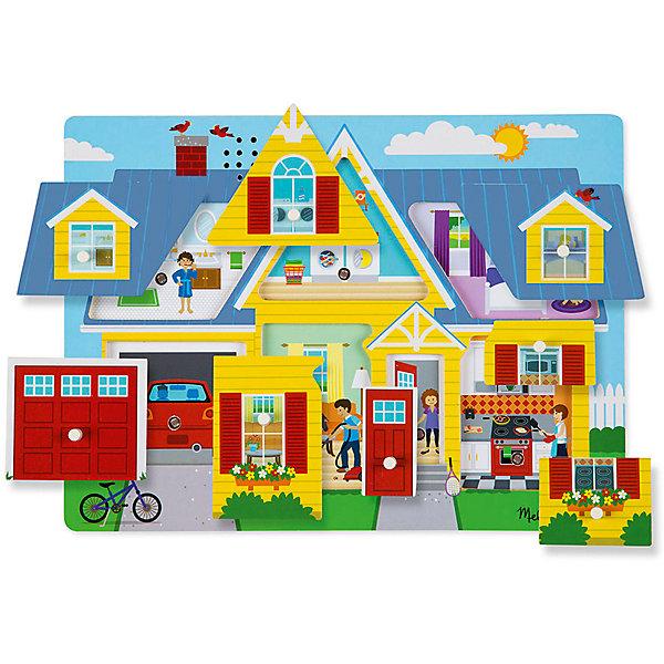 Пазл со звуком Мой дом, Melissa &amp; DougПазлы для малышей<br>Пазл со звуком Мой дом, Melissa &amp; Doug<br><br>Характеристики:<br><br>• В набор входит: рамка, детали пазла<br>• Количество деталей: 8 шт.<br>• Размер пазла: 30 * 2 * 22 см.<br>• Состав: дерево, картон, ПВХ<br>• Вес: 544 г.<br>• Для детей в возрасте: от 2 до 4 лет<br>• Страна производитель: Китай<br><br>Поднимите одну из восьми деталей чтобы увидеть и услышать что происходит внутри этого занятого дома. Этот уникальный пазл позволит детям посмотреть как в гараже звучит мотор машины, как звонит будильник в детской комнате и будет ребёнка, как на кухне готовится завтрак и многое другое! Верните деталь на место, чтобы остановить звуки и перейти к другой комнате. Детям понравится исследовать домик и каждый раз находить в нем что-то новое в ярких, качественных картинках и реалистичных звуках.<br><br>Пазл со звуком Мой дом, Melissa &amp; Doug можно купить в нашем интернет-магазине.<br>Ширина мм: 300; Глубина мм: 20; Высота мм: 220; Вес г: 544; Возраст от месяцев: 24; Возраст до месяцев: 2147483647; Пол: Унисекс; Возраст: Детский; SKU: 5451058;