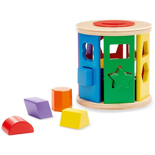 Первые навыки Барабан сортировщик, Melissa &amp; DougРазвивающие игрушки<br>Первые навыки Барабан сортировщик, Melissa &amp; Doug<br><br>Характеристики:<br><br>• В набор входит: барабан, фигуры<br>• Количество деталей: 14 шт.<br>• Размер пазла: 15 * 15 * 15 см.<br>• Состав: дерево, ПВХ<br>• Вес: 703 г.<br>• Для детей в возрасте: от 1 до 3 лет<br>• Страна производитель: Китай<br><br>Семь сторон барабана представлены в цветах радуги и в каждом цвете имеется по две уникальные фигуры. Вставляя ромб, трапецию, звёзду, треугольник, овал, квадрат, круг, шестиугольник полумесяц и не только малыш освоит новые фигуры и сможет выучить цвета. Поместив все фигуры в сортер-барабан, ребёнок может покрутить его, перемешав все фигуры заново, открыть крышку и начать новую игру. Экологически безопасный материал – дерево, безопасен для детей. <br><br>Первые навыки Барабан сортировщик, Melissa &amp; Doug можно купить в нашем интернет-магазине.<br><br>Ширина мм: 150<br>Глубина мм: 150<br>Высота мм: 150<br>Вес г: 703<br>Возраст от месяцев: 12<br>Возраст до месяцев: 2147483647<br>Пол: Унисекс<br>Возраст: Детский<br>SKU: 5451059