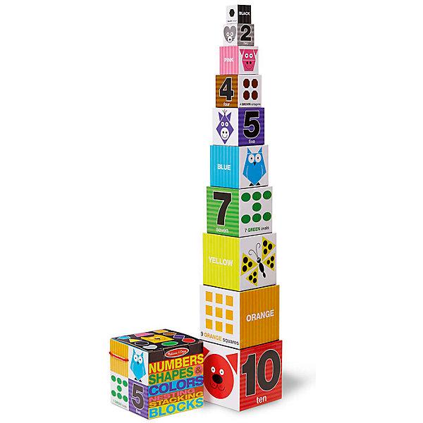 Первые навыки Цифры, формы и цвета, блоки, Melissa &amp; DougИзучаем цвета и формы<br>Первые навыки Цифры, формы и цвета, блоки, Melissa &amp; Doug<br><br>Характеристики:<br><br>• В набор входит: кубики<br>• Количество деталей: 10 шт.<br>• Размер пазла: 15 * 15 * 15 см.<br>• Состав: плотный картон<br>• Вес: 726 г.<br>• Для детей в возрасте: от 2 до 4 лет<br>• Страна производитель: Китай<br><br>Кубики сделаны из прочного картона, поэтому их легко хранить, и они не слишком тяжелые чтобы брать их в поездку. Животные на каждом кубике учат ребёнка цветам, формам и цифрам. Вы можете в процессе игры спрашивать у малыша как говорит то или иное животное. Выставив все кубики один на другой, малыш получит 90 сантиметровую башню! Из кубиков можно строить небольшие домики или другие постройки на своё усмотрение. Цифры и цвета на кубиках написаны на английском языке.<br><br>Первые навыки Цифры, формы и цвета, блоки, Melissa &amp; Doug можно купить в нашем интернет-магазине.<br><br>Ширина мм: 150<br>Глубина мм: 150<br>Высота мм: 150<br>Вес г: 726<br>Возраст от месяцев: 24<br>Возраст до месяцев: 2147483647<br>Пол: Унисекс<br>Возраст: Детский<br>SKU: 5451060