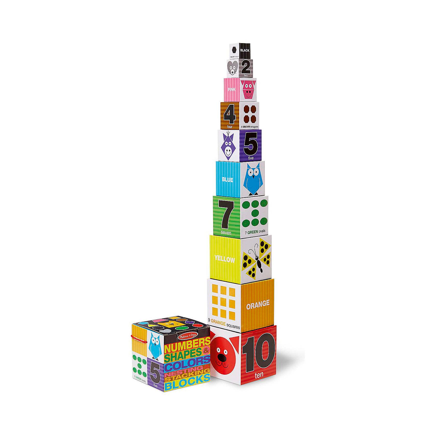 Первые навыки Цифры, формы и цвета, блоки, Melissa &amp; DougРазвивающие игры<br>Первые навыки Цифры, формы и цвета, блоки, Melissa &amp; Doug<br><br>Характеристики:<br><br>• В набор входит: кубики<br>• Количество деталей: 10 шт.<br>• Размер пазла: 15 * 15 * 15 см.<br>• Состав: плотный картон<br>• Вес: 726 г.<br>• Для детей в возрасте: от 2 до 4 лет<br>• Страна производитель: Китай<br><br>Кубики сделаны из прочного картона, поэтому их легко хранить, и они не слишком тяжелые чтобы брать их в поездку. Животные на каждом кубике учат ребёнка цветам, формам и цифрам. Вы можете в процессе игры спрашивать у малыша как говорит то или иное животное. Выставив все кубики один на другой, малыш получит 90 сантиметровую башню! Из кубиков можно строить небольшие домики или другие постройки на своё усмотрение. Цифры и цвета на кубиках написаны на английском языке.<br><br>Первые навыки Цифры, формы и цвета, блоки, Melissa &amp; Doug можно купить в нашем интернет-магазине.<br><br>Ширина мм: 150<br>Глубина мм: 150<br>Высота мм: 150<br>Вес г: 726<br>Возраст от месяцев: 24<br>Возраст до месяцев: 2147483647<br>Пол: Унисекс<br>Возраст: Детский<br>SKU: 5451060