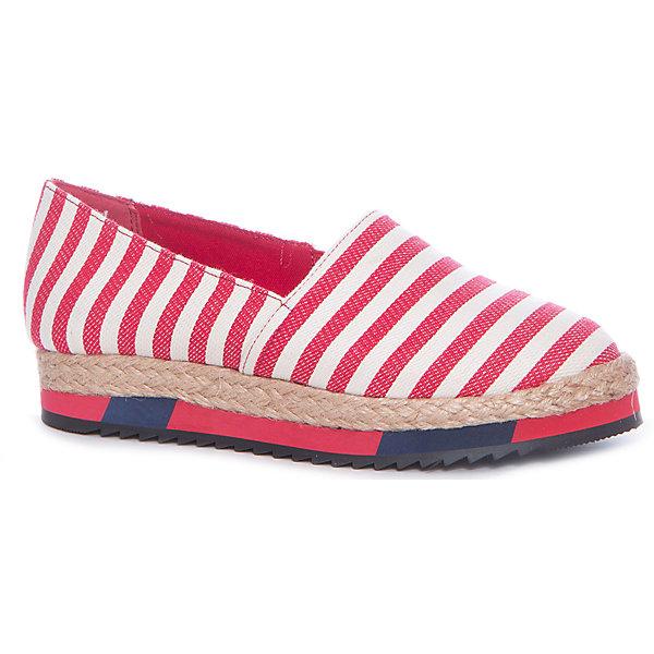 Слипоны для девочки BETSY, красный в полоскуСлипоны<br>Характеристики товара:<br><br>• цвет: красный<br>• материал верха: текстиль<br>• стелька: текстиль<br>• подошва: резина<br>• сезон: лето<br>• коллекция: весна-лето 2017<br>• страна бренда: Великобритания<br>• страна производства: Китай<br><br>Обувь от лондонского бренда BETSY (Бетси) уже завоевала популярность у взрослых и детей в нашей стране. <br><br>Для производства этой обуви используются только проверенные, качественные материалы и фурнитура. <br><br>Порадуйте ребенка комфортными и современными вещами от BETSY! <br><br>Туфли для девочки от британского бренда BETSY (Бетси) можно купить в нашем интернет-магазине.<br>Ширина мм: 262; Глубина мм: 176; Высота мм: 97; Вес г: 427; Цвет: красный/белый; Возраст от месяцев: 108; Возраст до месяцев: 120; Пол: Женский; Возраст: Детский; Размер: 33,38,37,36,35,34; SKU: 5451075;
