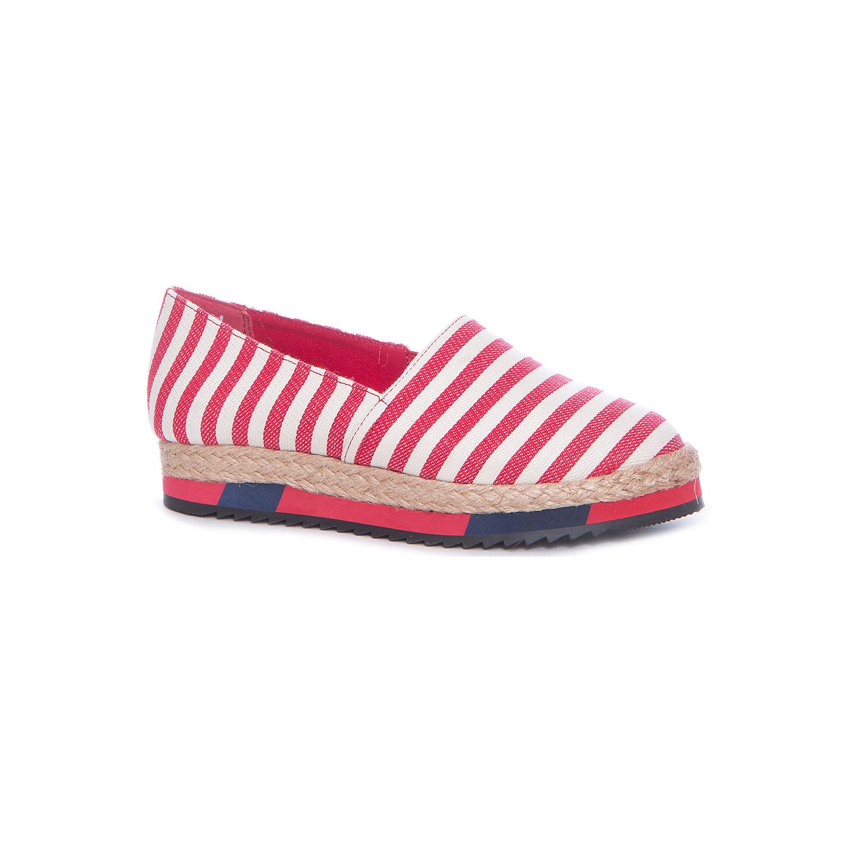 Слипоны для девочки BETSY, красный в полоскуСлипоны<br>Характеристики товара:<br><br>• цвет: красный<br>• материал верха: текстиль<br>• стелька: текстиль<br>• подошва: резина<br>• сезон: лето<br>• коллекция: весна-лето 2017<br>• страна бренда: Великобритания<br>• страна производства: Китай<br><br>Обувь от лондонского бренда BETSY (Бетси) уже завоевала популярность у взрослых и детей в нашей стране. <br><br>Для производства этой обуви используются только проверенные, качественные материалы и фурнитура. <br><br>Порадуйте ребенка комфортными и современными вещами от BETSY! <br><br>Туфли для девочки от британского бренда BETSY (Бетси) можно купить в нашем интернет-магазине.<br><br>Ширина мм: 262<br>Глубина мм: 176<br>Высота мм: 97<br>Вес г: 427<br>Цвет: красный/белый<br>Возраст от месяцев: 108<br>Возраст до месяцев: 120<br>Пол: Женский<br>Возраст: Детский<br>Размер: 33,38,37,36,35,34<br>SKU: 5451075