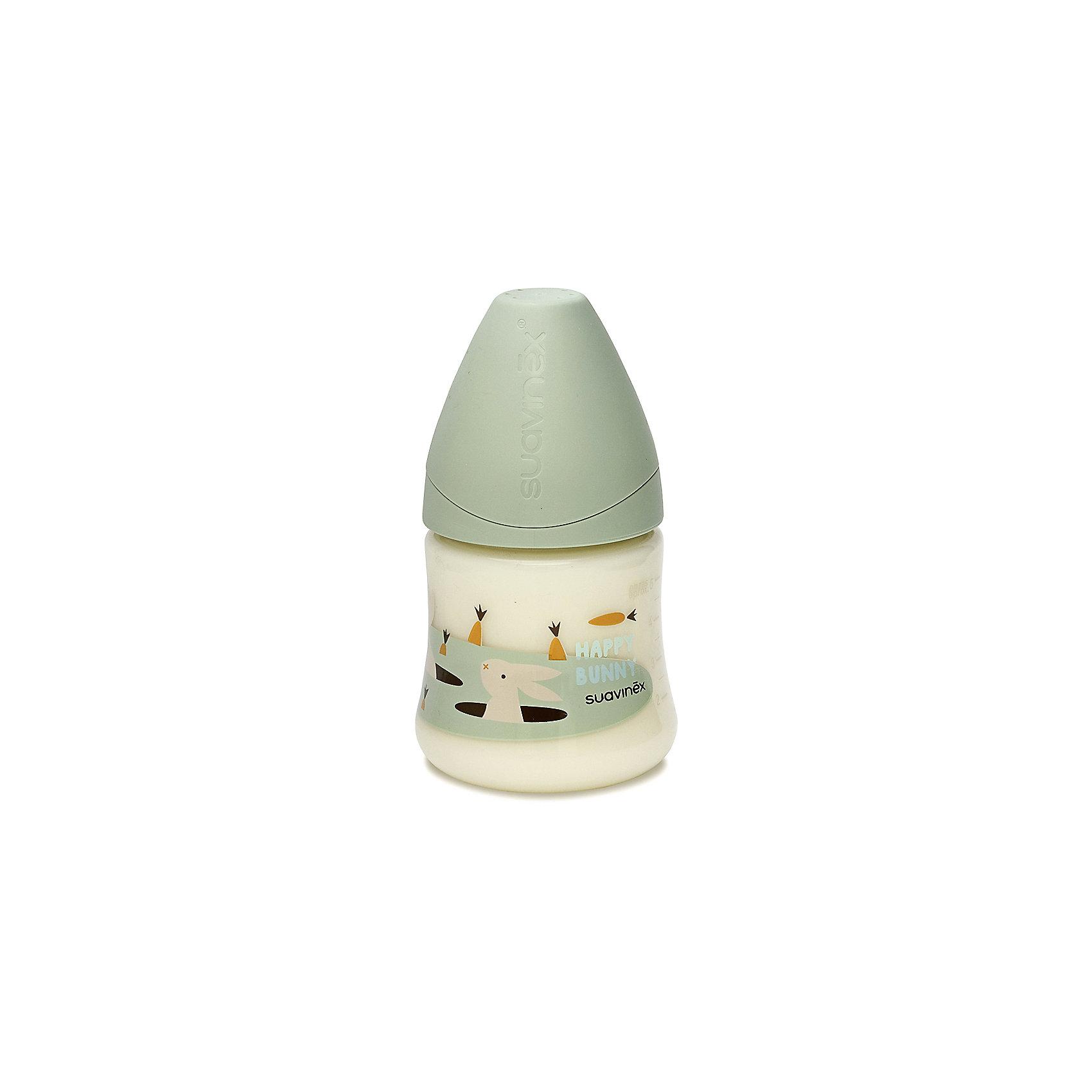 Бутылка 150мл от 0 до 6 мес., Suavinex, зеленый кроликБутылочки и аксессуары<br>Характеристики:<br><br>• Наименование: бутылка для кормления<br>• Рекомендуемый возраст: от 0 до 6 месяцев<br>• Пол: универсальный<br>• Объем: 150 мл<br>• Материал: латекс, пластик<br>• Цвет: зеленый, белый, оранжевый<br>• Рисунок: кролик, морковка<br>• Форма соски: анатомическая<br>• Поток у соски: медленный<br>• Комплектация: бутылочка, соска, колпачок<br>• Наличие антиколикового клапана<br>• Горлышко бутылки адаптировано под любую форму соски данного производителя<br>• Вес: 85 г<br>• Параметры (Д*Ш*В): 7*7*13,3 см <br>• Особенности ухода: регулярная стерилизация и своевременная замена<br><br>Бутылка 150 мл от 0 до 6 мес., Suavinex, зеленый кролик  изготовлена испанским торговым брендом, специализирующимся на выпуске товаров для кормления новорожденных и младенцев. Продукция от Suavinex разработана с учетом рекомендаций педиатров и стоматологов, что гарантирует не только качество и безопасность использованных материалов, но и обеспечивает правильное формирование неба. <br><br>Бутылочка выполнена с широким горлышком, что облегчает уход за ней. Латексная соска анатомической формы длительное время сохраняет свои свойства: не рассасывается и не слипается во время кормления. <br><br>Бутылка 150 мл от 0 до 6 мес., Suavinex, зеленый кролик  выполнена в брендовом дизайне с изображением выглядывающего из норы кролика. Рисунок устойчив к появлениям царапин и выгоранию цвета даже при частой стерилизации. Бутылка 150 мл от 0 до 6 мес., Suavinex, зеленый кролик станет непревзойденным аксессуаром для кормления вашего малыша.<br><br>Бутылку 150 мл от 0 до 6 мес., Suavinex, зеленый кролик можно купить в нашем интернет-магазине.<br><br>Ширина мм: 70<br>Глубина мм: 70<br>Высота мм: 133<br>Вес г: 85<br>Возраст от месяцев: 0<br>Возраст до месяцев: 6<br>Пол: Унисекс<br>Возраст: Детский<br>SKU: 5451217