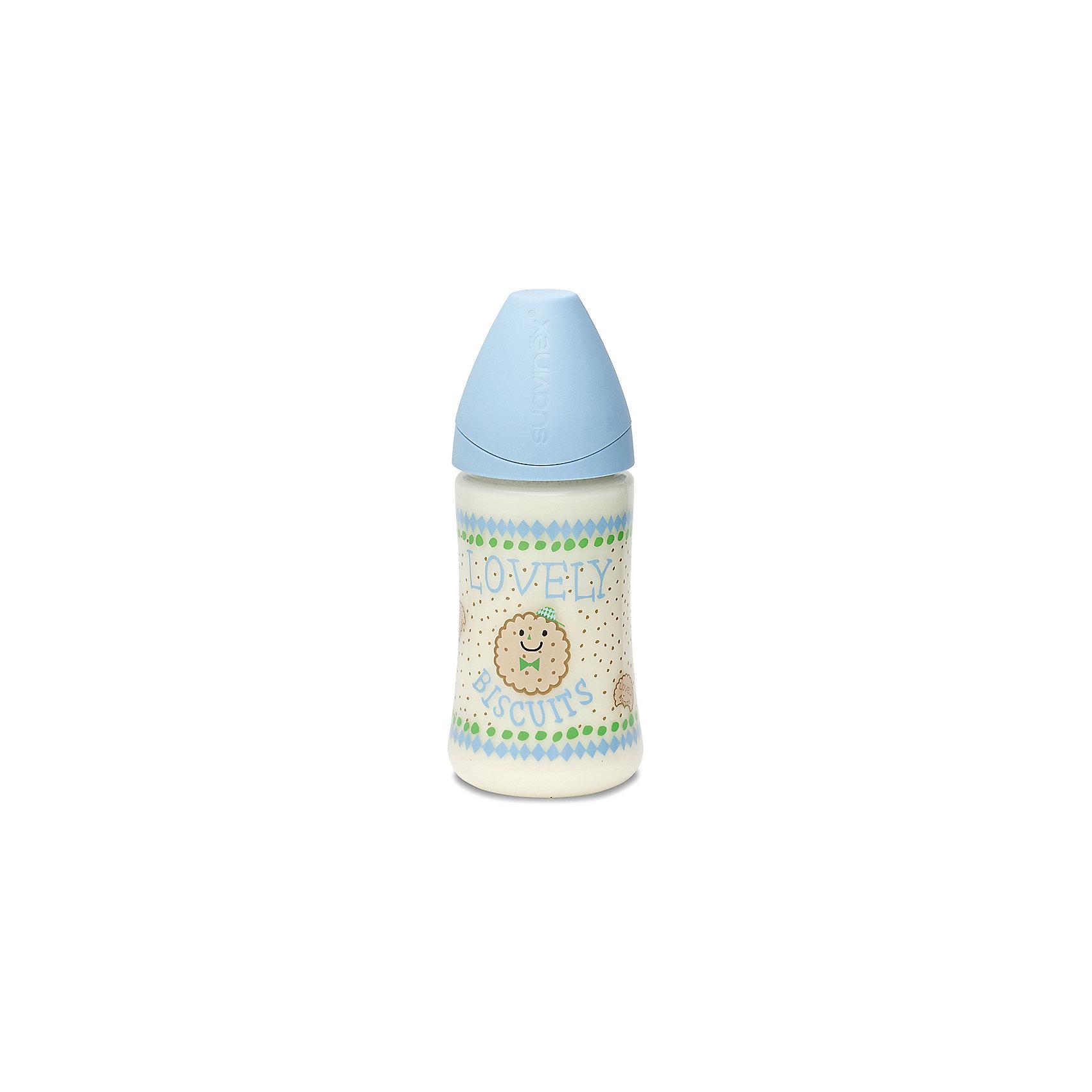 Бутылка 270мл от 0 до 6 мес., Suavinex, голубой печенькаБутылочки и аксессуары<br>Характеристики:<br><br>• Наименование: бутылка для кормления<br>• Рекомендуемый возраст: от 0 до 6 месяцев<br>• Пол: для мальчика<br>• Объем: 270 мл<br>• Материал: латекс, пластик<br>• Цвет: голубой, бежевый<br>• Рисунок: печенье<br>• Форма соски: анатомическая<br>• Поток у соски: медленный<br>• Комплектация: бутылочка, соска, колпачок<br>• Наличие антиколикового клапана<br>• Горлышко бутылки адаптировано под любую форму соски данного производителя<br>• Вес: 105 г<br>• Параметры (Д*Ш*В): 7*7*17,3 см <br>• Особенности ухода: регулярная стерилизация и своевременная замена<br><br>Бутылка 270 мл от 0 до 6 мес., Suavinex, голубой печенька изготовлена испанским торговым брендом, специализирующимся на выпуске товаров для кормления новорожденных и младенцев. Продукция от Suavinex разработана с учетом рекомендаций педиатров и стоматологов, что гарантирует не только качество и безопасность использованных материалов, но и обеспечивает правильное формирование неба. <br><br>Бутылочка выполнена с широким горлышком, что облегчает уход за ней. Латексная соска анатомической формы длительное время сохраняет свои свойства: не рассасывается и не слипается во время кормления. <br><br>Бутылка 270 мл от 0 до 6 мес., Suavinex, голубой печенька выполнена в брендовом дизайне с изображением круглых печенюшек. Рисунок устойчив к появлениям царапин и выгоранию цвета даже при частой стерилизации. Бутылка 270 мл от 0 до 6 мес., Suavinex, голубой печенька станет непревзойденным аксессуаром для кормления вашего малыша.<br><br>Бутылку 270 мл от 0 до 6 мес., Suavinex, голубой печенька можно купить в нашем интернет-магазине.<br><br>Ширина мм: 70<br>Глубина мм: 70<br>Высота мм: 173<br>Вес г: 105<br>Возраст от месяцев: 0<br>Возраст до месяцев: 6<br>Пол: Мужской<br>Возраст: Детский<br>SKU: 5451219