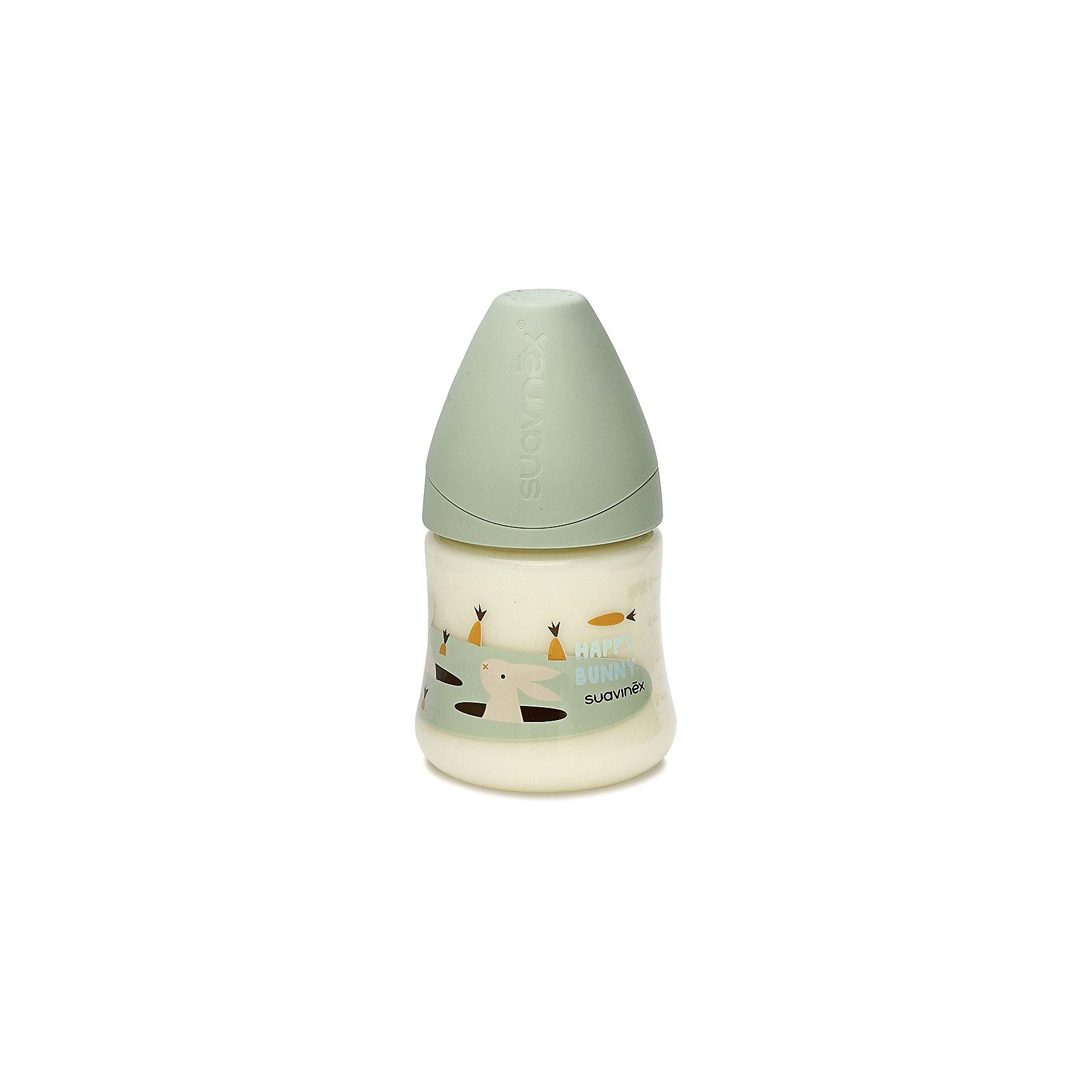 Бутылка 150мл от 0мес до 6мес., Suavinex, зеленый кроликБутылочки и аксессуары<br>Характеристики:<br><br>• Наименование: бутылка для кормления<br>• Рекомендуемый возраст: от 0 до 6 месяцев<br>• Пол: универсальный<br>• Объем: 150 мл<br>• Материал: силикон, пластик<br>• Цвет: зеленый, белый, оранжевый<br>• Рисунок: кролик, морковка<br>• Форма соски: анатомическая<br>• Поток у соски: медленный<br>• Комплектация: бутылочка, соска, колпачок<br>• Наличие антиколикового клапана<br>• Горлышко бутылки адаптировано под любую форму соски данного производителя<br>• Вес: 85 г<br>• Параметры (Д*Ш*В): 7*7*13,3 см <br>• Особенности ухода: регулярная стерилизация и своевременная замена<br><br>Бутылка 150 мл от 0 до 6 мес., Suavinex, зеленый кролик  изготовлена испанским торговым брендом, специализирующимся на выпуске товаров для кормления новорожденных и младенцев. Продукция от Suavinex разработана с учетом рекомендаций педиатров и стоматологов, что гарантирует не только качество и безопасность использованных материалов, но и обеспечивает правильное формирование неба. <br><br>Бутылочка выполнена с широким горлышком, что облегчает уход за ней. Силиконовая соска анатомической формы длительное время сохраняет свои свойства: не рассасывается и не слипается во время кормления. <br><br>Бутылка 150 мл от 0 до 6 мес., Suavinex, зеленый кролик  выполнена в брендовом дизайне с изображением выглядывающего из норы кролика. Рисунок устойчив к появлениям царапин и выгоранию цвета даже при частой стерилизации. Бутылка 150 мл от 0 до 6 мес., Suavinex, зеленый кролик станет непревзойденным аксессуаром для кормления вашего малыша.<br><br>Бутылку 150 мл от 0 до 6 мес., Suavinex, зеленый кролик можно купить в нашем интернет-магазине.<br><br>Ширина мм: 70<br>Глубина мм: 70<br>Высота мм: 133<br>Вес г: 85<br>Возраст от месяцев: 0<br>Возраст до месяцев: 6<br>Пол: Унисекс<br>Возраст: Детский<br>SKU: 5451227