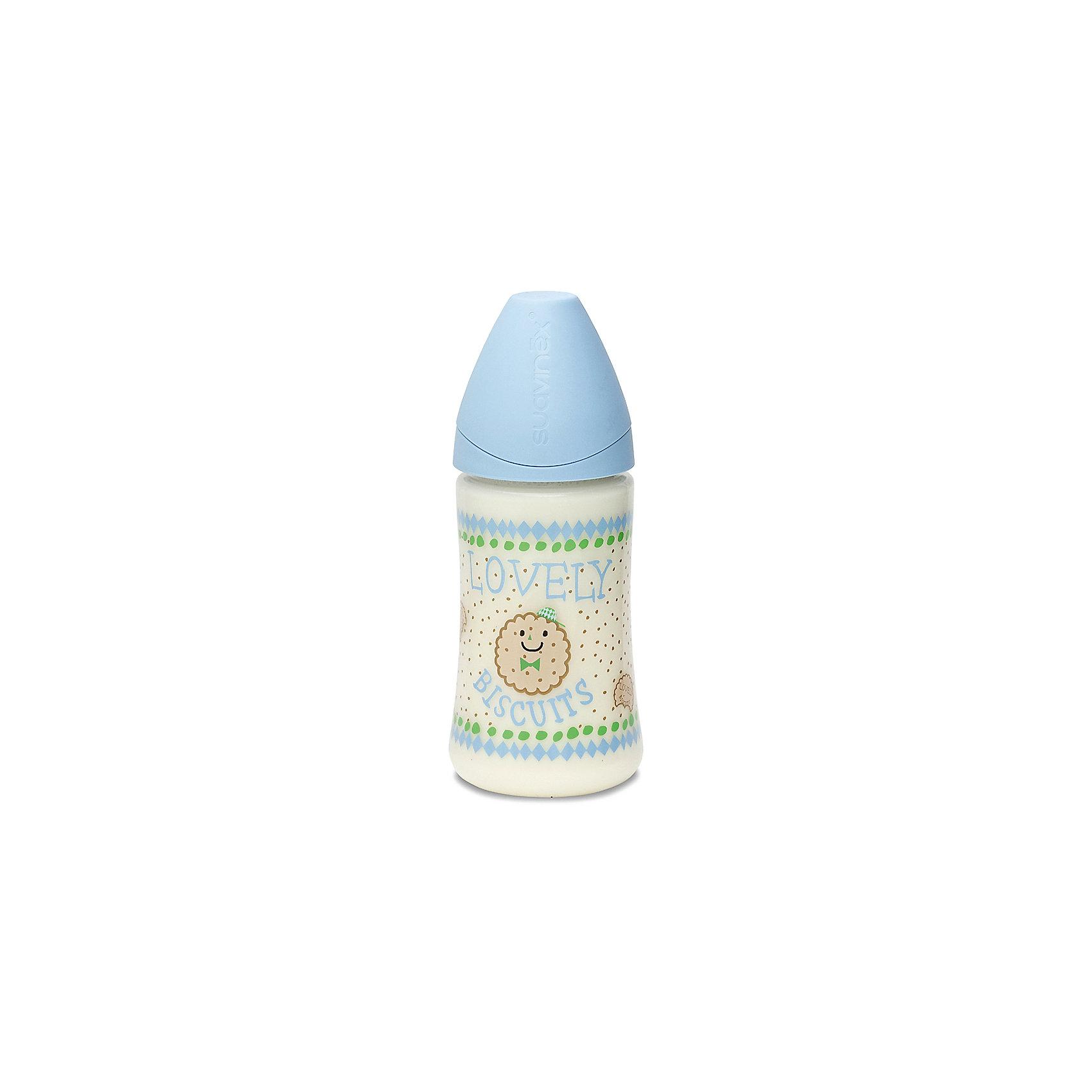Бутылочка 270мл от 0мес до 6мес., Suavinex, голубой печеньеБутылочки и аксессуары<br>Характеристики:<br><br>• Наименование: бутылка для кормления<br>• Рекомендуемый возраст: от 0 до 6 месяцев<br>• Пол: для мальчика<br>• Объем: 270 мл<br>• Материал: силикон, пластик<br>• Цвет: голубой, бежевый<br>• Рисунок: печенье<br>• Форма соски: анатомическая<br>• Поток у соски: медленный<br>• Комплектация: бутылочка, соска, колпачок<br>• Наличие антиколикового клапана<br>• Горлышко бутылки адаптировано под любую форму соски данного производителя<br>• Вес: 105 г<br>• Параметры (Д*Ш*В): 7*7*17,3 см <br>• Особенности ухода: регулярная стерилизация и своевременная замена<br><br>Бутылка 270 мл от 0 до 6 мес., Suavinex, голубой печенье изготовлена испанским торговым брендом, специализирующимся на выпуске товаров для кормления новорожденных и младенцев. Продукция от Suavinex разработана с учетом рекомендаций педиатров и стоматологов, что гарантирует не только качество и безопасность использованных материалов, но и обеспечивает правильное формирование неба. <br><br>Бутылочка выполнена с широким горлышком, что облегчает уход за ней. Силиконовая соска анатомической формы длительное время сохраняет свои свойства: не рассасывается и не слипается во время кормления. <br><br>Бутылка 270 мл от 0 до 6 мес., Suavinex, голубой печенье выполнена в брендовом дизайне с изображением круглых печенюшек. Рисунок устойчив к появлениям царапин и выгоранию цвета даже при частой стерилизации. Бутылка 270 мл от 0 до 6 мес., Suavinex, голубой печенье станет непревзойденным аксессуаром для кормления вашего малыша.<br><br>Бутылку 270 мл от 0 до 6 мес., Suavinex, голубой печенье можно купить в нашем интернет-магазине.<br><br>Ширина мм: 70<br>Глубина мм: 70<br>Высота мм: 173<br>Вес г: 105<br>Возраст от месяцев: 0<br>Возраст до месяцев: 6<br>Пол: Мужской<br>Возраст: Детский<br>SKU: 5451229