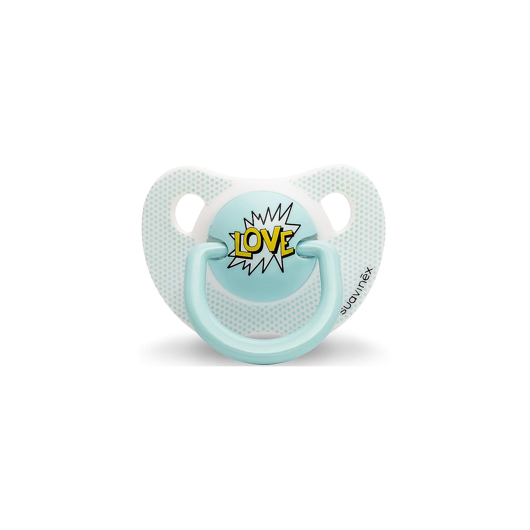 Пустышка силиконовая  LOVE Baby Art, 0-6 мес., Suavinex, голубойПустышки и аксессуары<br>Характеристики:<br><br>• Наименование: пустышка<br>• Рекомендуемый возраст: от 0 и до 6 месяцев<br>• Пол: для мальчика<br>• Материал: силикон, пластик<br>• Цвет: голубой<br>• Рисунок: романтика<br>• Форма: анатомическая<br>• Наличие вентиляционных отверстий <br>• Кольцо для держателя<br>• Вес: 27 г<br>• Параметры (Д*Ш*В): 5,4*6,5*10,9 см <br>• Особенности ухода: можно мыть в теплой воде, регулярная стерилизация <br><br>Пустышка LOVE от 0 до 6 мес Baby Art, Suavinex, голубой изготовлена испанским торговым брендом, специализирующимся на выпуске товаров для кормления и аксессуаров новорожденным и младенцам. Продукция от Suavinex разработана с учетом рекомендаций педиатров и стоматологов, что гарантирует качество и безопасность использованных материалов. <br><br>Пластик, из которого изготовлено изделие, устойчив к появлению царапин и сколов, благодаря чему пустышка длительное время сохраняет свои гигиенические свойства. Форма у соски способствует равномерному распределению давления на небо, что обеспечивает правильное формирование речевого аппарата. <br><br>Пустышка имеет анатомическую форму, для прикрепления держателя предусмотрено кольцо. Изделие выполнено в брендовом дизайне, надпись LOVE нанесена по инновационной технологии, которая обеспечивает стойкость рисунка даже при длительном использовании и частой стерилизации.<br><br>Пустышку LOVE от 0 до 6 мес Baby Art, Suavinex, голубой можно купить в нашем интернет-магазине.<br><br>Ширина мм: 54<br>Глубина мм: 65<br>Высота мм: 109<br>Вес г: 27<br>Возраст от месяцев: 0<br>Возраст до месяцев: 6<br>Пол: Мужской<br>Возраст: Детский<br>SKU: 5451239