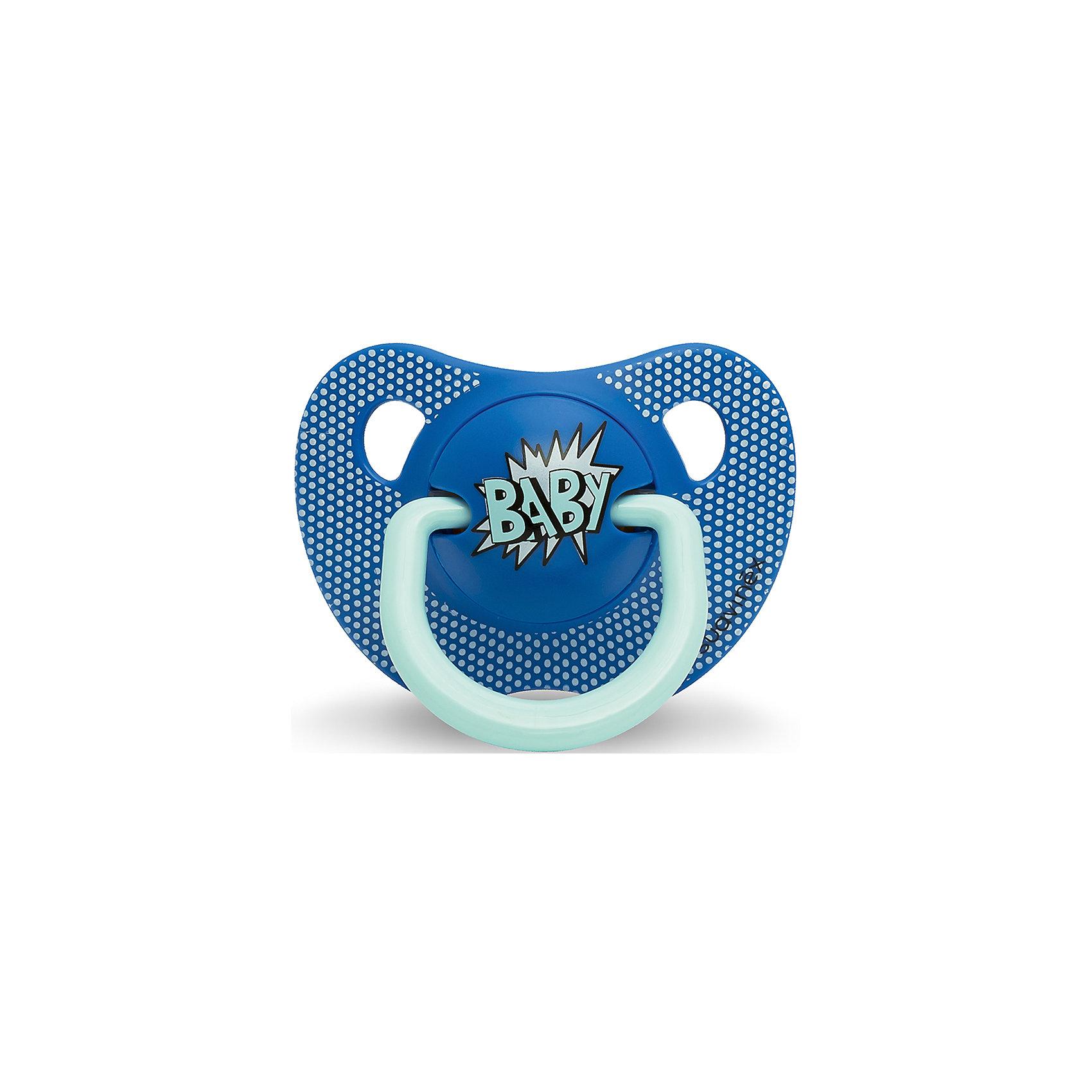 Пустышка силиконовая  BABY Baby Art, 0-6 мес., Suavinex, синийПустышки и аксессуары<br>Характеристики:<br><br>• Наименование: пустышка<br>• Рекомендуемый возраст: от 0 и до 6 месяцев<br>• Пол: для мальчика<br>• Материал: силикон, пластик<br>• Цвет: синий<br>• Рисунок: горошинки<br>• Форма: анатомическая<br>• Наличие вентиляционных отверстий <br>• Кольцо для держателя<br>• Вес: 27 г<br>• Параметры (Д*Ш*В): 5,4*6,5*10,9 см <br>• Особенности ухода: можно мыть в теплой воде, регулярная стерилизация <br><br>Пустышка BABY от 0 до 6мес Baby Art, Suavinex, синий изготовлена испанским торговым брендом, специализирующимся на выпуске товаров для кормления и аксессуаров новорожденным и младенцам. Продукция от Suavinex разработана с учетом рекомендаций педиатров и стоматологов, что гарантирует качество и безопасность использованных материалов. <br><br>Пластик, из которого изготовлено изделие, устойчив к появлению царапин и сколов, благодаря чему пустышка длительное время сохраняет свои гигиенические свойства. Форма у соски способствует равномерному распределению давления на небо, что обеспечивает правильное формирование речевого аппарата. <br><br>Пустышка имеет анатомическую форму, для прикрепления держателя предусмотрено кольцо. Изделие выполнено в брендовом дизайне, надпись BABY нанесена по инновационной технологии, которая обеспечивает стойкость рисунка даже при длительном использовании и частой стерилизации.<br><br>Пустышку BABY от 0 до 6мес Baby Art, Suavinex, синий можно купить в нашем интернет-магазине.<br><br>Ширина мм: 54<br>Глубина мм: 65<br>Высота мм: 109<br>Вес г: 27<br>Возраст от месяцев: 0<br>Возраст до месяцев: 6<br>Пол: Мужской<br>Возраст: Детский<br>SKU: 5451241