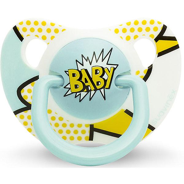 Пустышка силиконовая  BABY Baby Art, 6-18 мес., Suavinex, желтый/голубойПустышки<br>Характеристики:<br><br>• Наименование: пустышка<br>• Рекомендуемый возраст: от 6 и до 18 месяцев<br>• Пол: для мальчика<br>• Материал: силикон, пластик<br>• Цвет: желтый, голубой<br>• Рисунок: горошинки, абстракция<br>• Форма: анатомическая<br>• Наличие вентиляционных отверстий <br>• Кольцо для держателя<br>• Вес: 27 г<br>• Параметры (Д*Ш*В): 5,4*6,5*10,9 см <br>• Особенности ухода: можно мыть в теплой воде, регулярная стерилизация <br><br>Пустышка BABY от 6 до 18мес Baby Art, Suavinex, желто/голубой изготовлена испанским торговым брендом, специализирующимся на выпуске товаров для кормления и аксессуаров новорожденным и младенцам. Продукция от Suavinex разработана с учетом рекомендаций педиатров и стоматологов, что гарантирует качество и безопасность использованных материалов. <br><br>Пластик, из которого изготовлено изделие, устойчив к появлению царапин и сколов, благодаря чему пустышка длительное время сохраняет свои гигиенические свойства. Форма у соски способствует равномерному распределению давления на небо, что обеспечивает правильное формирование речевого аппарата. <br><br>Пустышка имеет анатомическую форму, для прикрепления держателя предусмотрено кольцо. Изделие выполнено в брендовом дизайне, надпись BABY нанесена по инновационной технологии, которая обеспечивает стойкость рисунка даже при длительном использовании и частой стерилизации.<br><br>Пустышку BABY от 6 до 18мес Baby Art, Suavinex, желто/голубой можно купить в нашем интернет-магазине.<br>Ширина мм: 54; Глубина мм: 65; Высота мм: 109; Вес г: 27; Возраст от месяцев: 6; Возраст до месяцев: 18; Пол: Мужской; Возраст: Детский; SKU: 5451242;