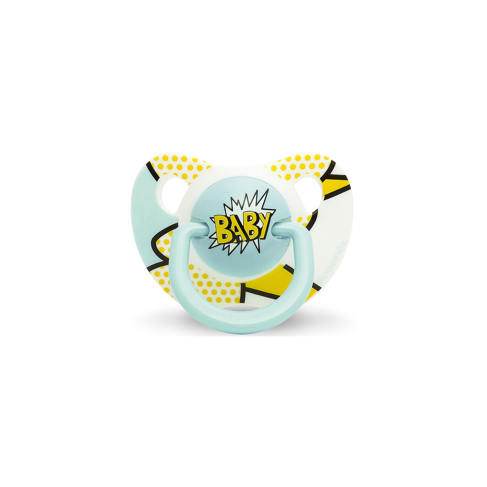 Пустышка силиконовая  BABY Baby Art, 6-18 мес., Suavinex, желто/голубойПустышки и аксессуары<br>Характеристики:<br><br>• Наименование: пустышка<br>• Рекомендуемый возраст: от 6 и до 18 месяцев<br>• Пол: для мальчика<br>• Материал: силикон, пластик<br>• Цвет: желтый, голубой<br>• Рисунок: горошинки, абстракция<br>• Форма: анатомическая<br>• Наличие вентиляционных отверстий <br>• Кольцо для держателя<br>• Вес: 27 г<br>• Параметры (Д*Ш*В): 5,4*6,5*10,9 см <br>• Особенности ухода: можно мыть в теплой воде, регулярная стерилизация <br><br>Пустышка BABY от 6 до 18мес Baby Art, Suavinex, желто/голубой изготовлена испанским торговым брендом, специализирующимся на выпуске товаров для кормления и аксессуаров новорожденным и младенцам. Продукция от Suavinex разработана с учетом рекомендаций педиатров и стоматологов, что гарантирует качество и безопасность использованных материалов. <br><br>Пластик, из которого изготовлено изделие, устойчив к появлению царапин и сколов, благодаря чему пустышка длительное время сохраняет свои гигиенические свойства. Форма у соски способствует равномерному распределению давления на небо, что обеспечивает правильное формирование речевого аппарата. <br><br>Пустышка имеет анатомическую форму, для прикрепления держателя предусмотрено кольцо. Изделие выполнено в брендовом дизайне, надпись BABY нанесена по инновационной технологии, которая обеспечивает стойкость рисунка даже при длительном использовании и частой стерилизации.<br><br>Пустышку BABY от 6 до 18мес Baby Art, Suavinex, желто/голубой можно купить в нашем интернет-магазине.<br><br>Ширина мм: 54<br>Глубина мм: 65<br>Высота мм: 109<br>Вес г: 27<br>Возраст от месяцев: 6<br>Возраст до месяцев: 18<br>Пол: Мужской<br>Возраст: Детский<br>SKU: 5451242