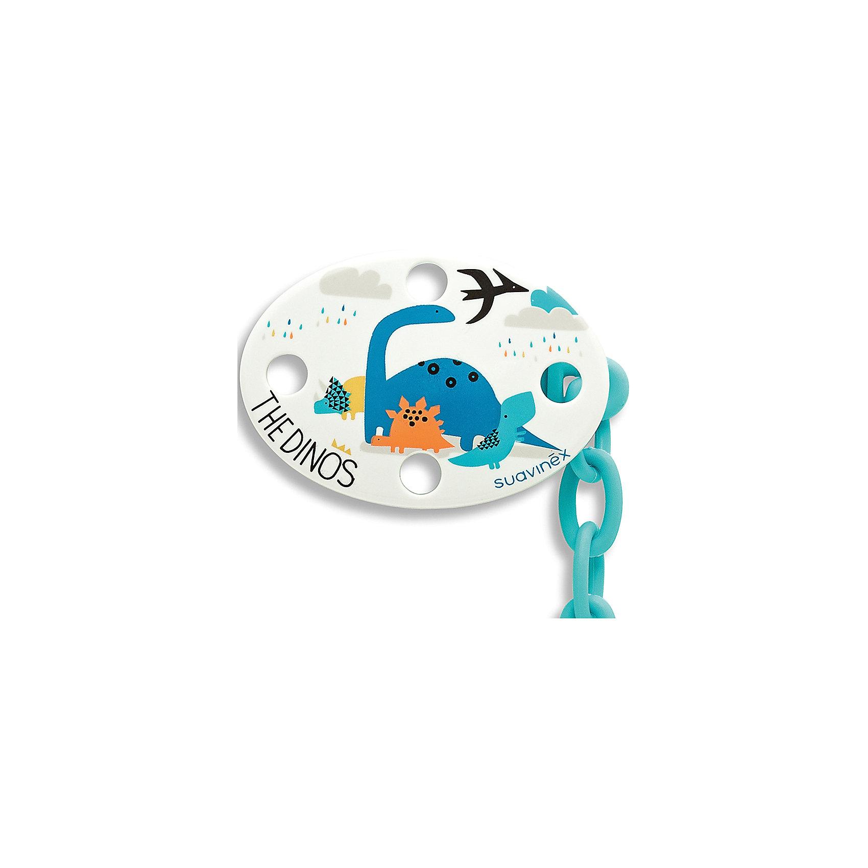 Держатель для пустышки Динозавр от 0 мес., Suavinex, белыйПустышки и аксессуары<br>Характеристики:<br><br>• Наименование: держатель для пустышки<br>• Пол: универсальный<br>• Материал: пластик<br>• Цвет: голубой, белый, оранжевый<br>• Рисунок: динозавр<br>• Универсальный механизм для закрепления любых пустышек<br>• Вид держателя: на цепочке с клипсой<br>• Вес: 30 г<br>• Параметры (Д*Ш*В): 5,4*6,5*10,9 см <br>• Особенности ухода: можно мыть в теплой воде, допускается стерилизация<br><br>Держатель для пустышки Динозавр от 0 мес., Suavinex, белый изготовлен испанским торговым брендом, специализирующимся на выпуске товаров для кормления и аксессуаров для младенцев. Продукция от Suavinex премиум-класса разработана из экологически безопасных и прочных материалов, устойчивых к повреждениям, появлению царапин и изменению цвета. <br><br>Держатель для пустышки выполнен в виде цепочки с крупными звеньями, С одной стороны, у держателя предусмотрено кольцо, с другой – овальная клипса. Клипса оформлена в брендовом дизайне с изображением разноцветных динозавриков. Держатель для пустышки Динозавр от 0 мес., Suavinex, белый – это не только необходимый предмет ухода за младенцем, но и стильный аксессуар. <br><br>Держатель для пустышки Динозавр от 0 мес., Suavinex, белый можно купить в нашем интернет-магазине.<br><br>Ширина мм: 54<br>Глубина мм: 65<br>Высота мм: 109<br>Вес г: 30<br>Возраст от месяцев: 0<br>Возраст до месяцев: 24<br>Пол: Унисекс<br>Возраст: Детский<br>SKU: 5451245