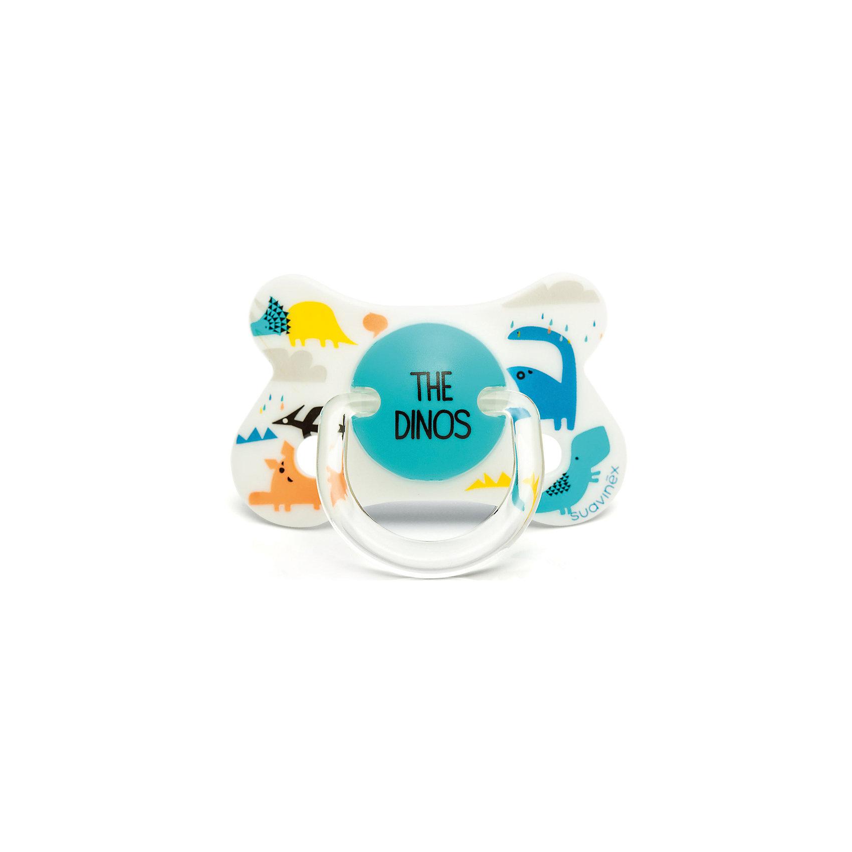 Пустышка силиконовая Динозавр, 4-18 мес.,Suavinex, белыйПустышки и аксессуары<br>Характеристики:<br><br>• Наименование: пустышка<br>• Рекомендуемый возраст: от 4 до 18 месяцев<br>• Пол: универсальный<br>• Материал: силикон, пластик<br>• Цвет: белый, голубой<br>• Рисунок: динозаврик<br>• Форма: физиологическая<br>• Наличие вентиляционных отверстий <br>• Кольцо для держателя<br>• Вес: 27 г<br>• Параметры (Д*Ш*В): 5,4*6,5*10,9 см <br>• Особенности ухода: можно мыть в теплой воде, регулярная стерилизация <br><br>Пустышка Динозавр от 4 до 18 мес., Suavinex, белый изготовлена испанским торговым брендом, специализирующимся на выпуске товаров для кормления и аксессуаров новорожденным и младенцам. Продукция от Suavinex разработана с учетом рекомендаций педиатров и стоматологов, что гарантирует качество и безопасность использованных материалов. <br><br>Пластик, из которого изготовлено изделие, устойчив к появлению царапин и сколов, благодаря чему пустышка длительное время сохраняет свои гигиенические свойства. Форма у соски способствует равномерному распределению давления на небо, что обеспечивает правильное формирование речевого аппарата. <br><br>Пустышка имеет физиологическую форму, для прикрепления держателя предусмотрено кольцо. Изделие выполнено в брендовом дизайне, с изображением динозаврика. Рисунок нанесен по инновационной технологии, которая обеспечивает его стойкость даже при длительном использовании и частой стерилизации.<br><br>Пустышку Динозавр от 4 до 18 мес., Suavinex, белый можно купить в нашем интернет-магазине.<br><br>Ширина мм: 54<br>Глубина мм: 65<br>Высота мм: 109<br>Вес г: 27<br>Возраст от месяцев: 4<br>Возраст до месяцев: 18<br>Пол: Унисекс<br>Возраст: Детский<br>SKU: 5451250