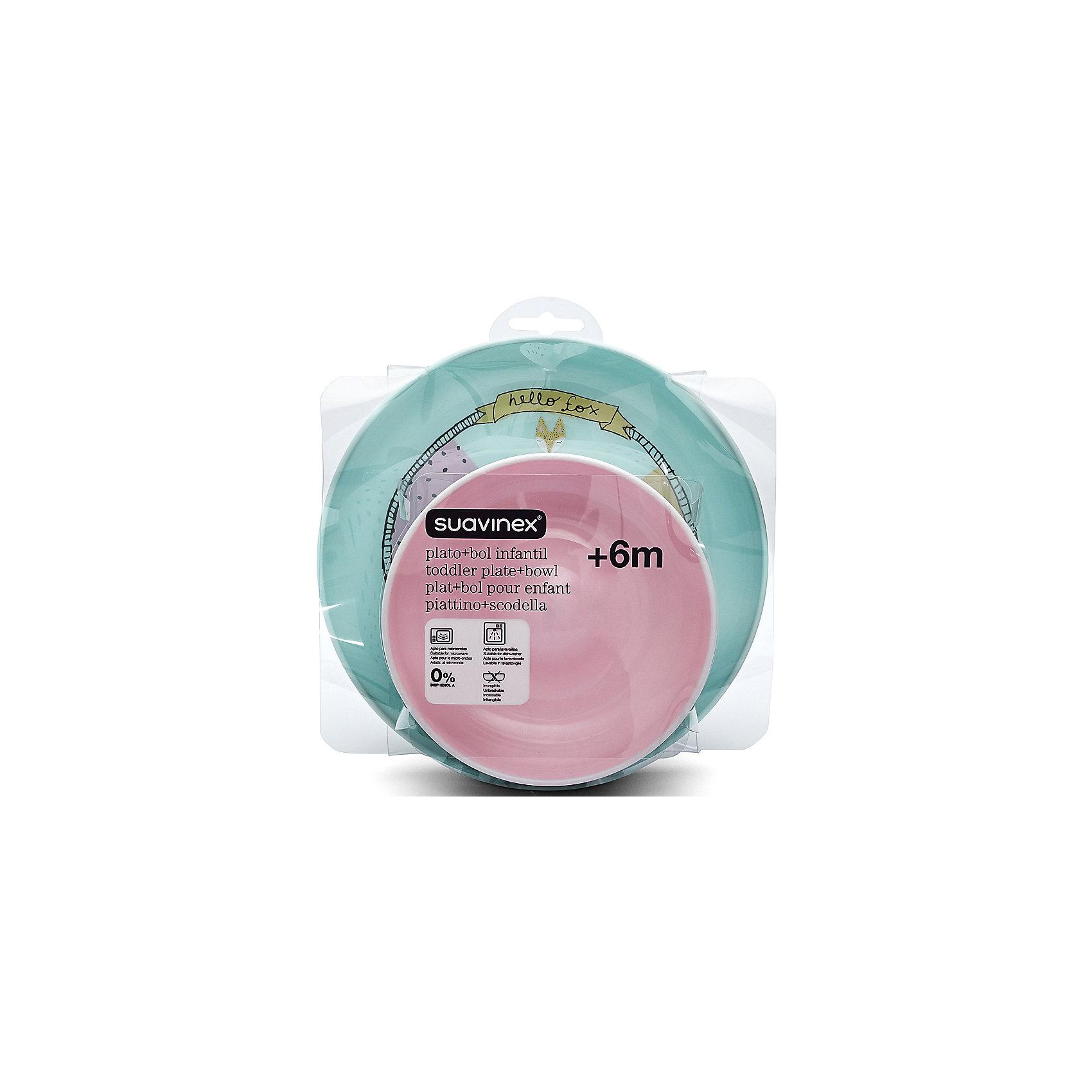 Набор посуды от 6 мес. тарелка+миска Fox, Suavinex, розовый/белыйПосуда для малышей<br>Характеристики:<br><br>• Наименование: набор посуды<br>• Рекомендуемый возраст: от 6 месяцев<br>• Пол: для девочки<br>• Материал: пластик<br>• Цвет: розовый, белый, оранжевый<br>• Рисунок: лиса, горошинки<br>• Комплектация: миска, тарелка<br>• Диаметр миски: 14 см<br>• Высота миски: 4,5 см<br>• Диаметр тарелки: 20 см<br>• Вес: 188 г<br>• Параметры (Д*Ш*В): 20*7*10 см <br>• Особенности ухода: мыть в теплой воде, разрешается стерилизация<br><br>Набор посуды от 6 мес. тарелка+миска Fox, Suavinex, розовый/белый изготовлен испанским торговым брендом, специализирующимся на выпуске товаров для кормления новорожденных и младенцев. Продукция от Suavinex разработана с учетом рекомендаций педиатров, что гарантирует качество и безопасность использованных материалов. <br><br>Изделия выполнены из ударопрочного пластика, который устойчив к появлениям царапин, что обеспечивает высокие гигиенические свойства столовых предметов. Набор включает в себя миску и плоскую тарелку. Выполнен в брендовом дизайне с изображением лисенка и горошинок. Рисунок устойчив к появлениям царапин и выгоранию цвета даже при частой стерилизации. <br><br>Набор посуды от 6 мес. тарелка+миска Fox, Suavinex, розовый/белый можно купить в нашем интернет-магазине.<br><br>Ширина мм: 200<br>Глубина мм: 70<br>Высота мм: 200<br>Вес г: 188<br>Возраст от месяцев: 6<br>Возраст до месяцев: 24<br>Пол: Женский<br>Возраст: Детский<br>SKU: 5451255